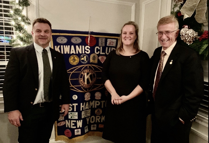 The Kiwanis Club of East Hampton inducted a new member, Lauren Nichols, at its December 3 meeting at The Palm. Ms. Nichols, who was sponsored into the club by Past President Henry Uihlein, is director of the Amagansett Free Library. The Kiwanis Club of East Hampton meets bi-weekly and holds several events during the year to raise money for children in the local community. Those interested in joining should email easthamptonkiwanisclub@gmail.com.