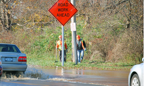 A water main break flooded Montauk Highway on Monday morning causing traffic to slow.