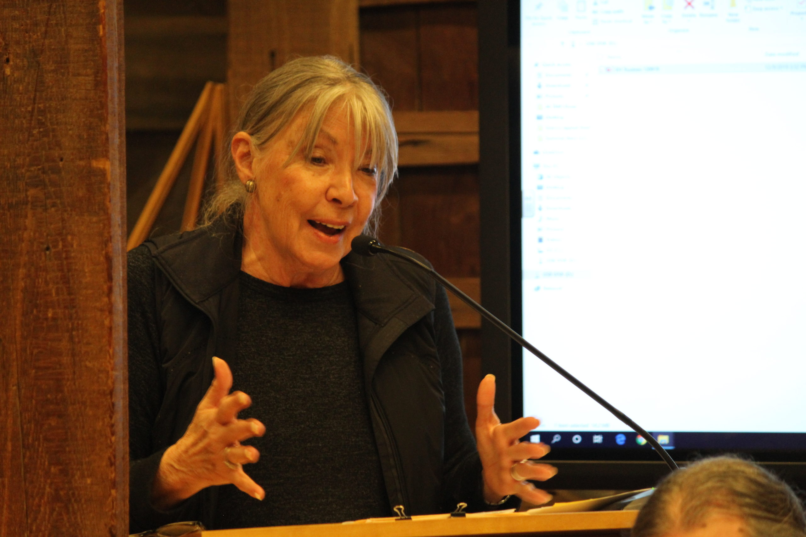 Joan Priore, of the Lazy Point Homeowners Assocaition, has been among the critics of aquaculture in Gardiner Bay.