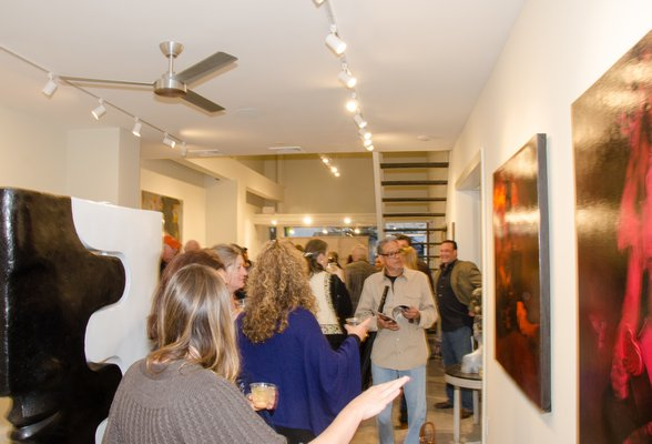 The packed house at the reopened RJD Gallery in Bridgehampton on Saturday night. LISA TAMBURINI PHOTOGRAPHY