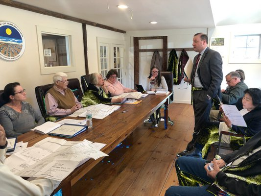 Attorney Brian Doyle presented the Sagaponack Village Board with a new subdivision plan for 43 acres of oceanfront land that is nearly identical to the one the board approved more than a decade ago. MICHAEL WRIGHT