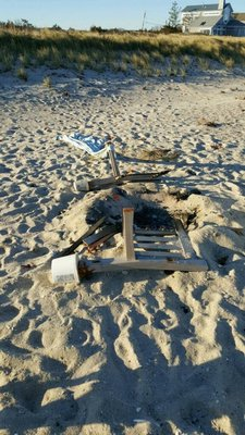 A memorial bench was found to be burned and destroyed early Saturday morning by locals. FACEBOOK