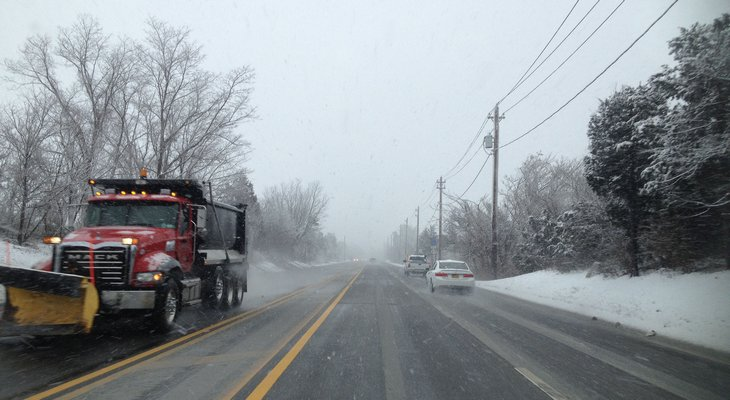 Traffic was sparse Monday morning with the East End under a Winter Storm Warning  DANA SHAW