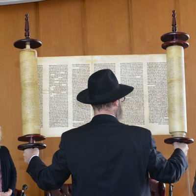The Kristallnacht Torah scroll set to be on display at the Chabad of the Hamptons. COURTESY MUSIA BAUMGARTEN