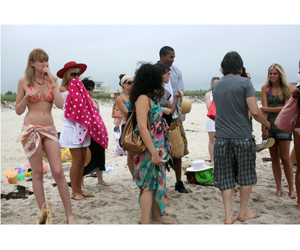 Extras on Rogers Beach filming an online game for USA Network's Royal Pains