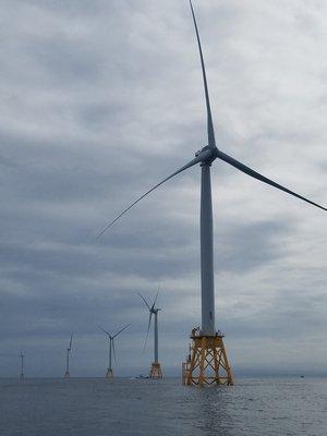 Wind turbines off Block Island.   MICHAEL POTTS
