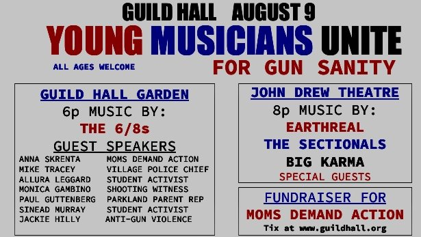 one of three music groups set to perform at Guild Hall as part of a fundraiser to prevent gun violence.           COURTESY MICHAEL CLARK