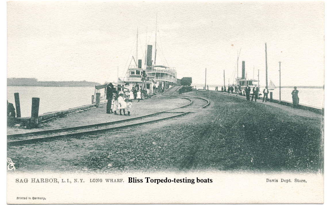 This postcard shows Long Wharf circa 1910 when it was used by the E.W. Bliss Torpedo Company to test its product. Courtesy Sag Harbor Historical Society.