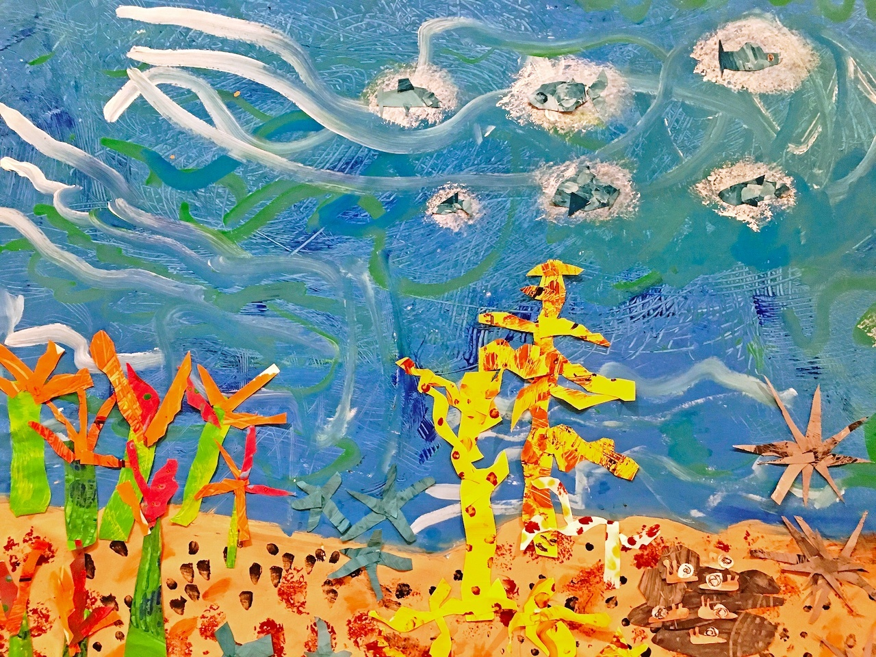 A work created by Amagansett School kindergartners and first graders for the 2018 Guild Hall Student Art Festival.
