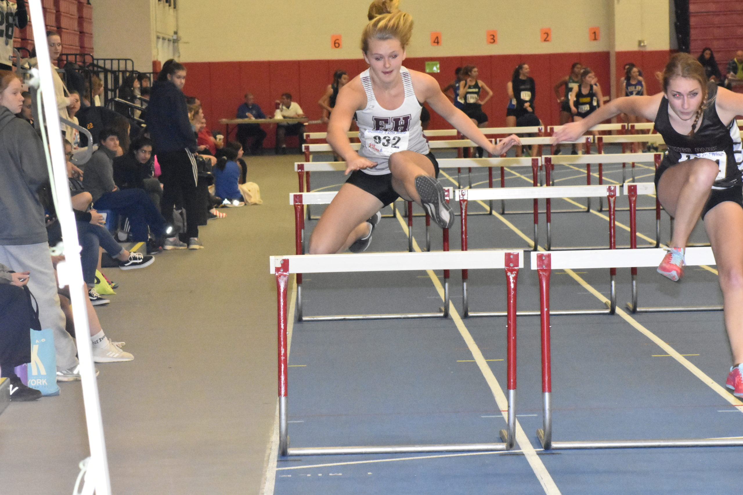 East Hampton sophomore Hanna Medler tied for 10th place in the 55-meter hurdles.