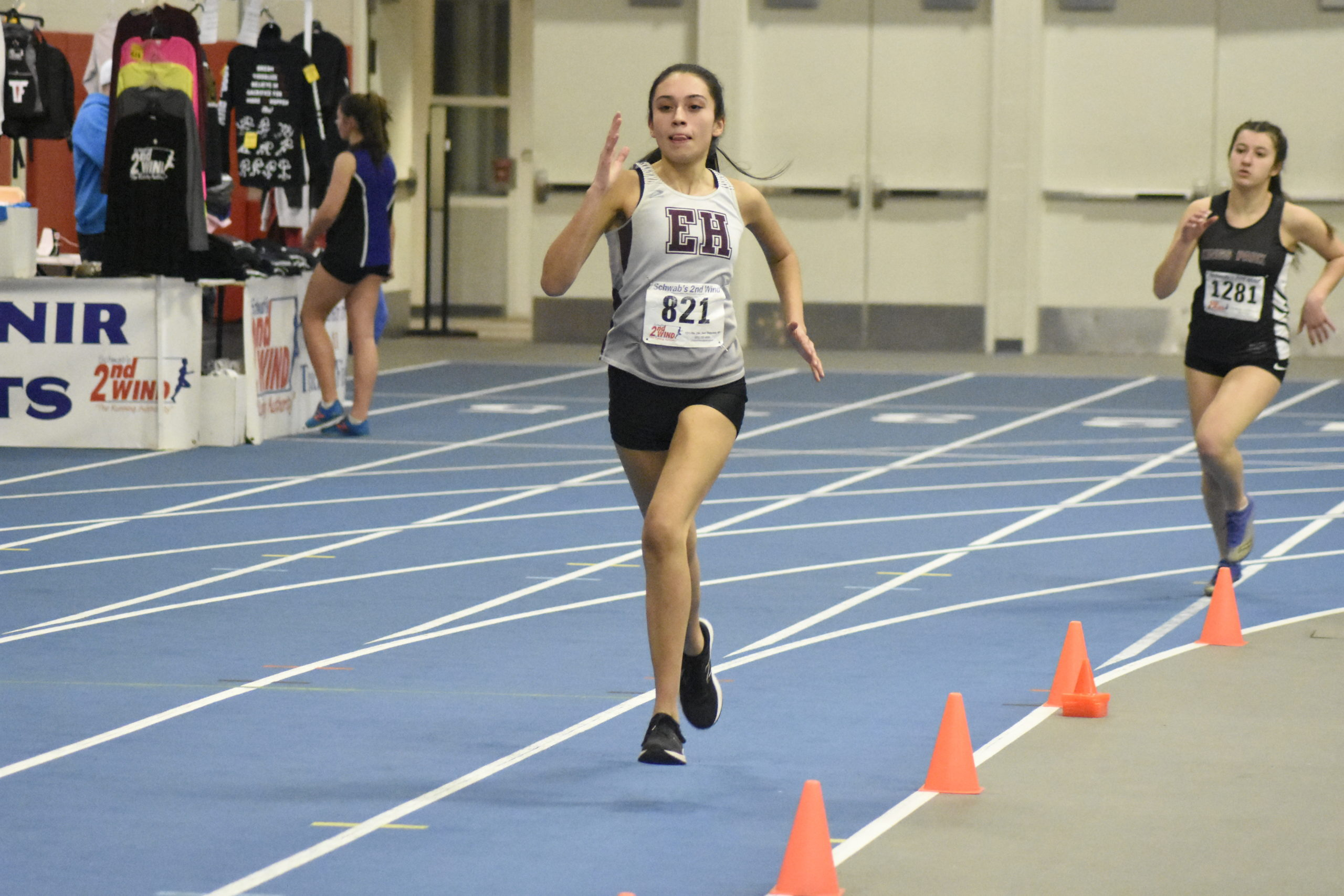 East Hampton junior Denise Analis running in the 600-meter run.