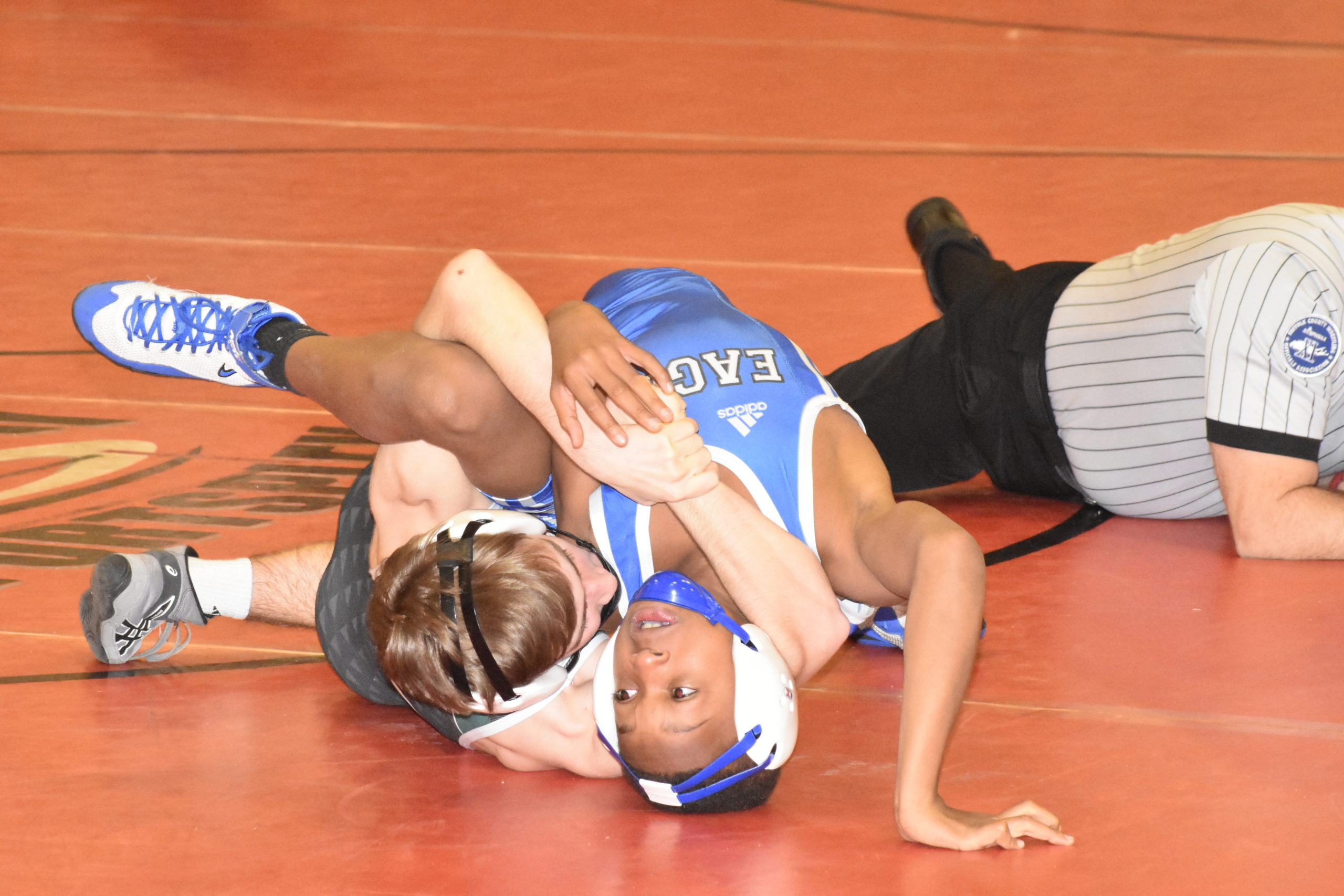 Grant Skala of Westhampton Beach pins his Copiague opponent.