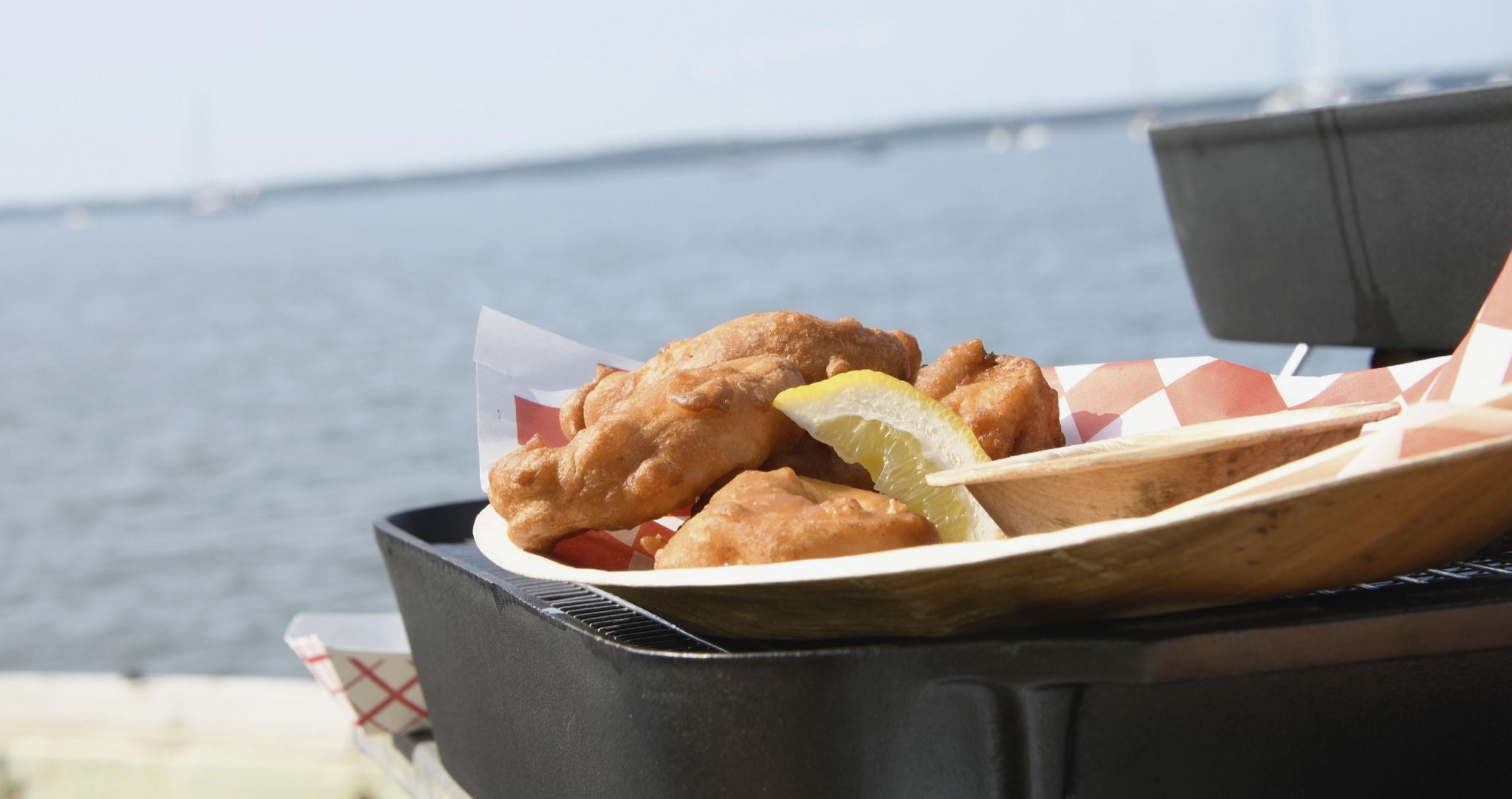 Waterside at Cormaria in Sag Harbor with beer batter fish.