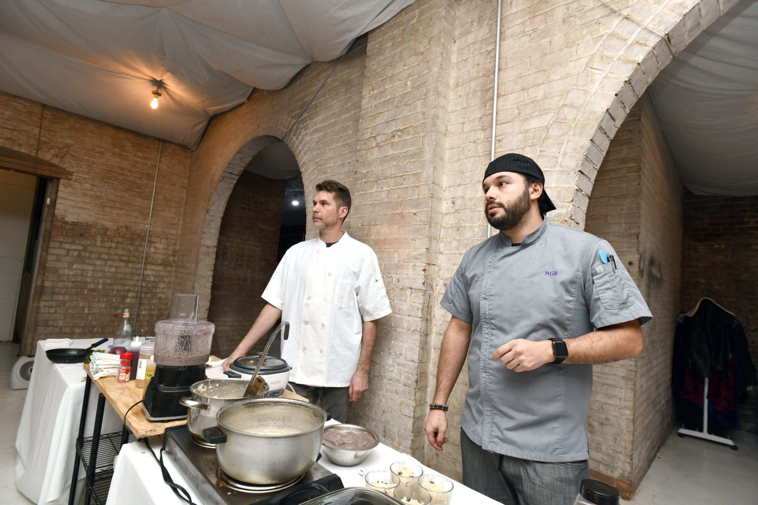 Chefs Chef Jon Albrecht and Nicolas Reisini during a class at The Spurn in Southampton.