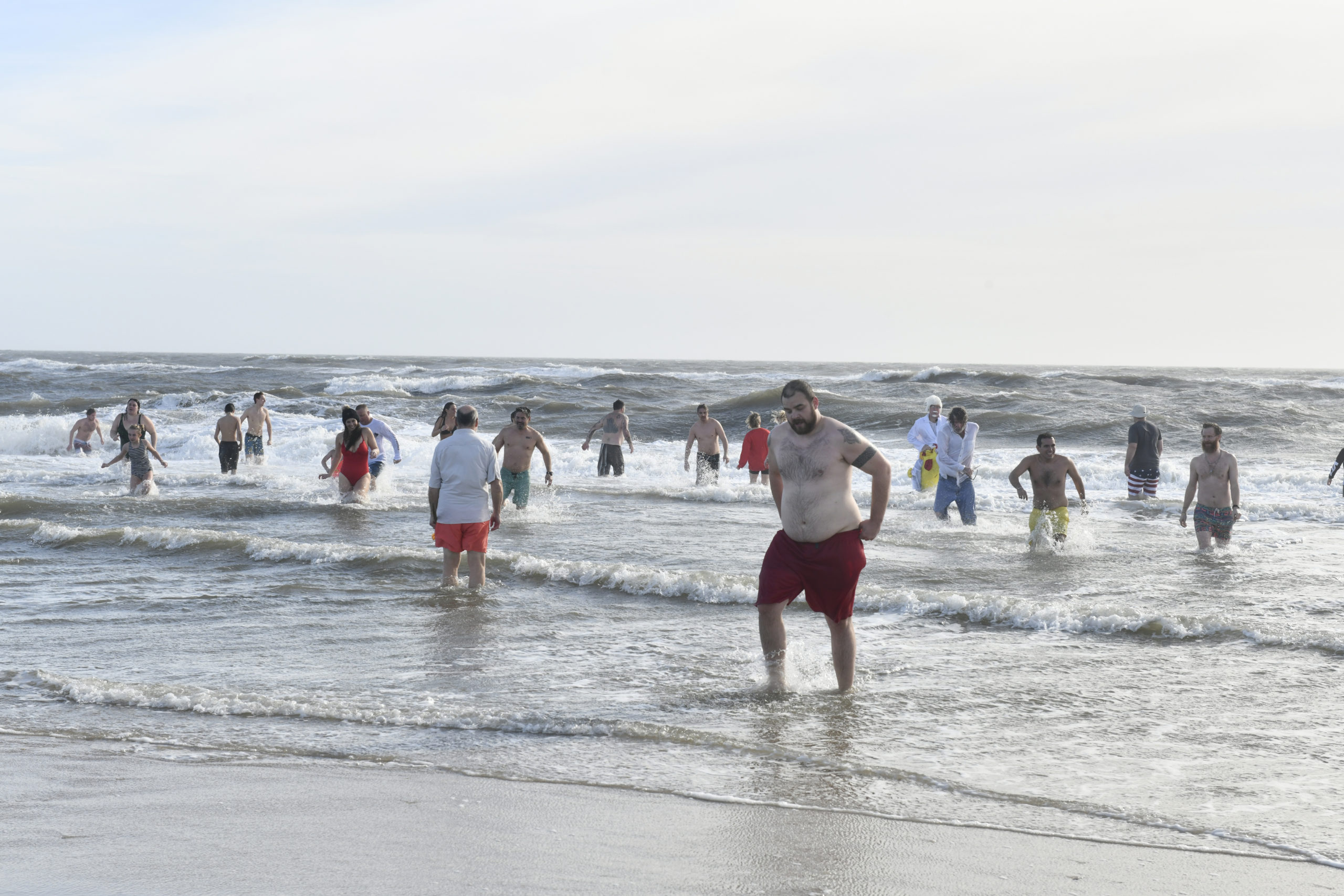 Plungers at Rogers Beach on Saturday.