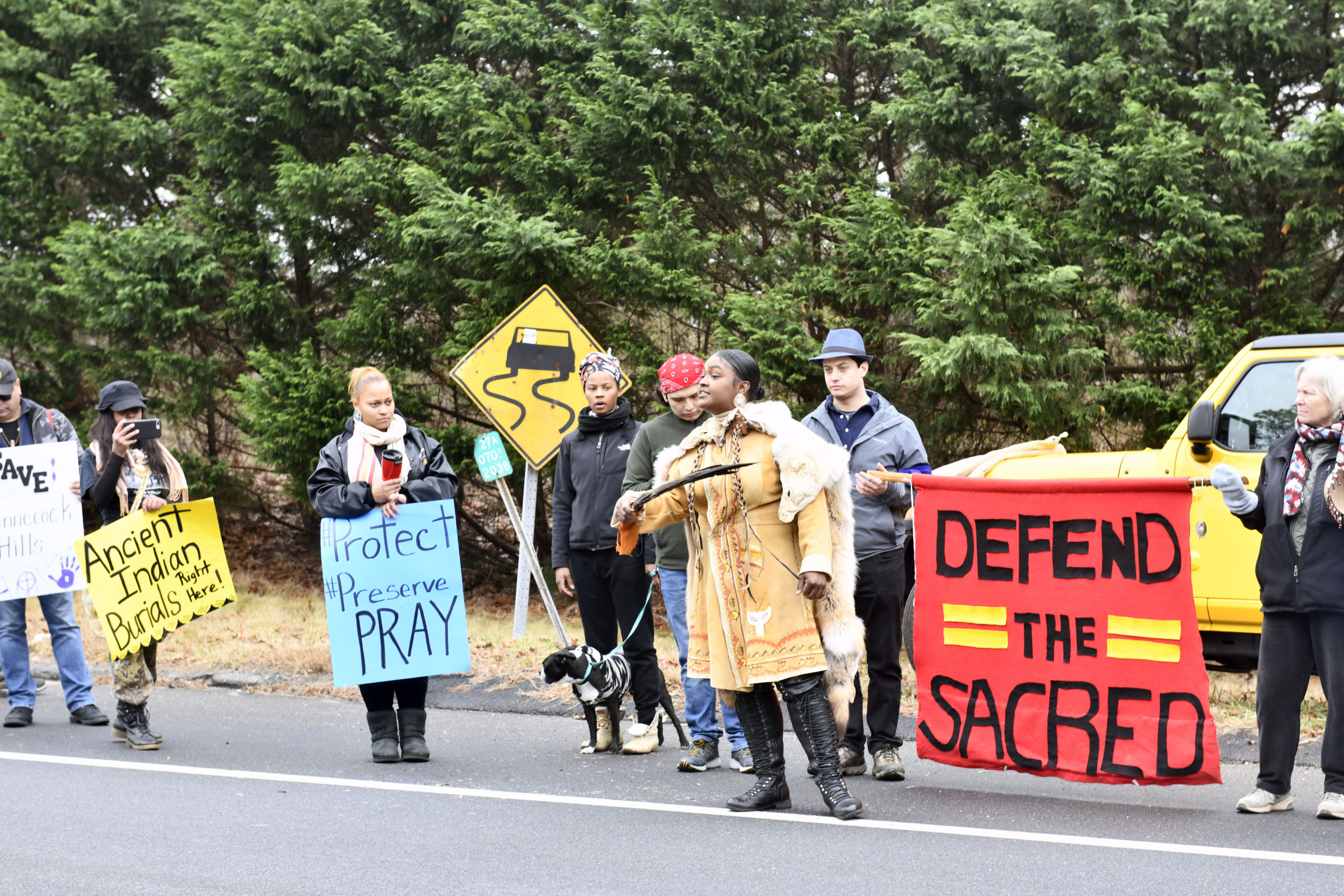 The Shinnecock Indian Nation held a large-scale protest on Tuesday in front of parcel of land in Shinnecock Hills slated for development that is considered sacred to the tribe and a well-known burial site for their ancestors, as well as other Native American tribes.  DANA SHAW