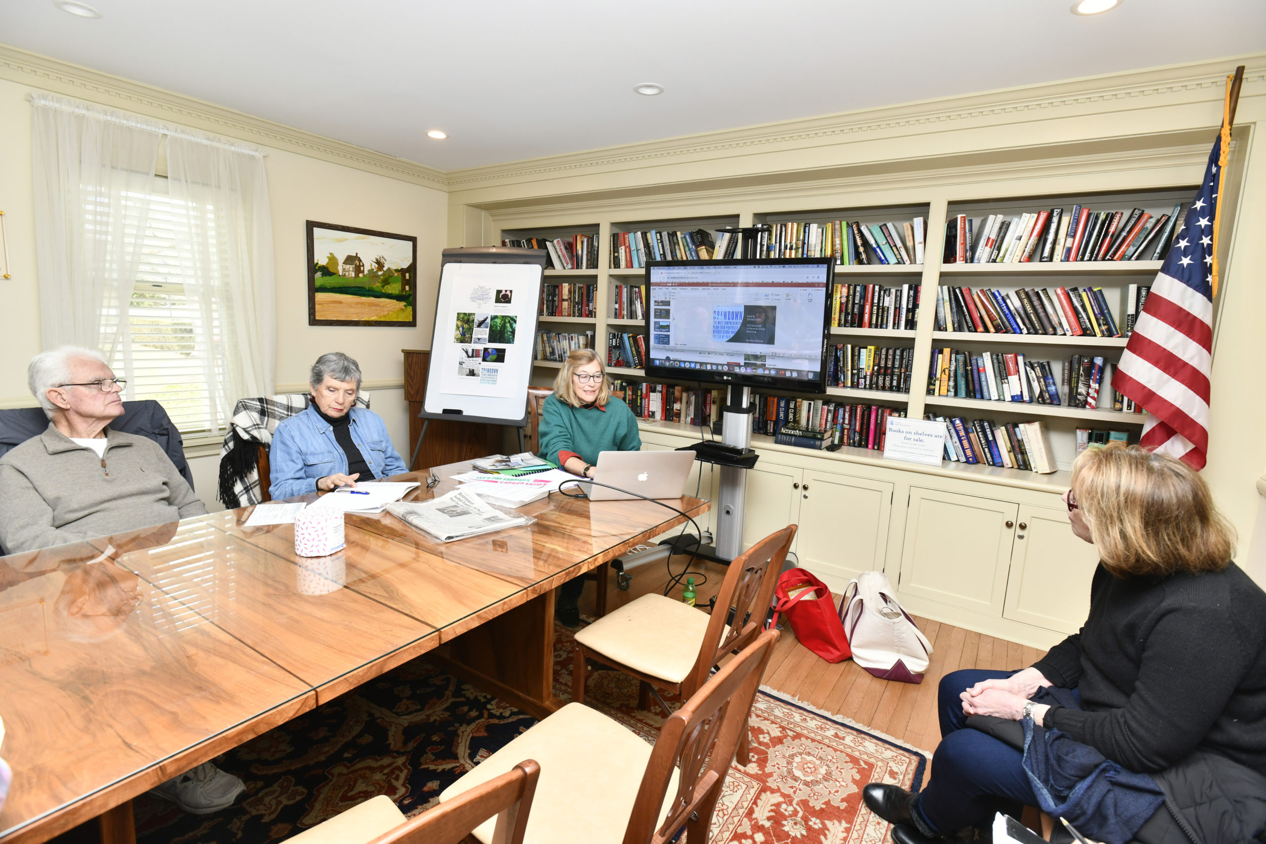 Mary Foster Morgan talks about Drawdown East End at Cooper Hall in Southampton on Monday.    DANA SHAW