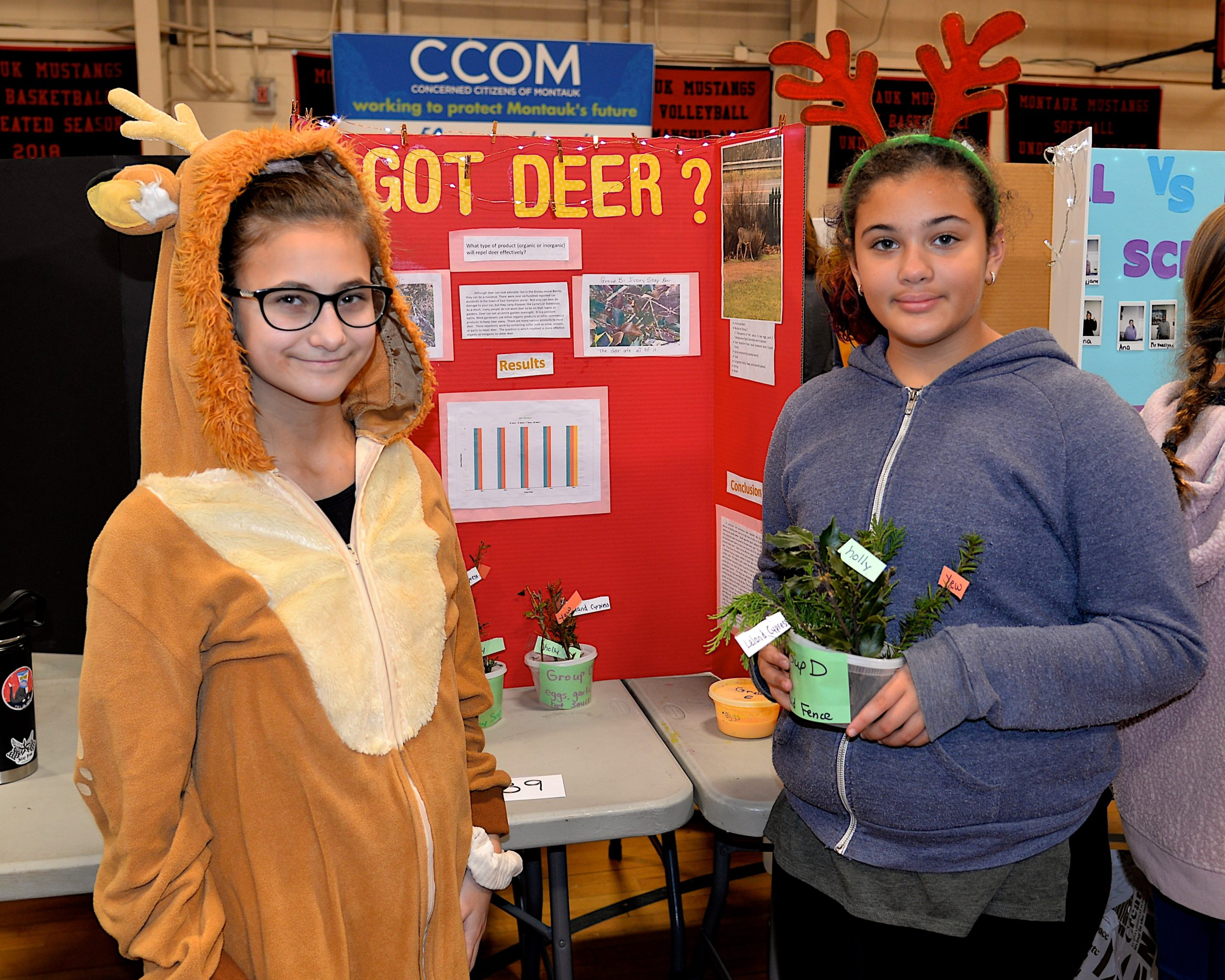 Montauk School and the Concerned Citizens of Montauk partnered for the annual Montauk School Science Fair on Friday. Mary Jo Corron and Liann Valentin studied the deer-repelling qualities of various plants. KYRIL BROMLEY