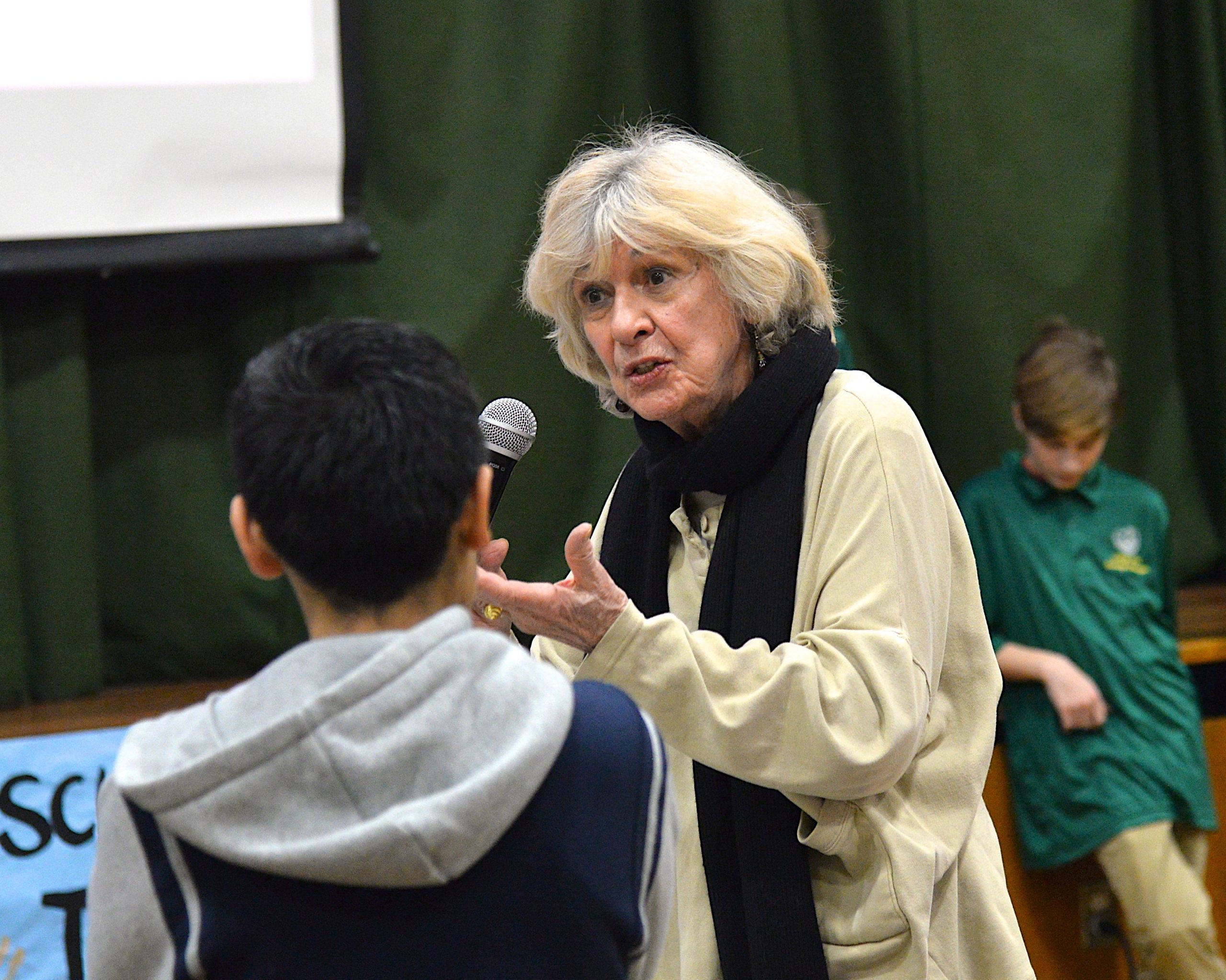 Phyllis Italiano introduces herself at the Springs School's Diversity Institute program on Friday. KYRIL BROMLEY