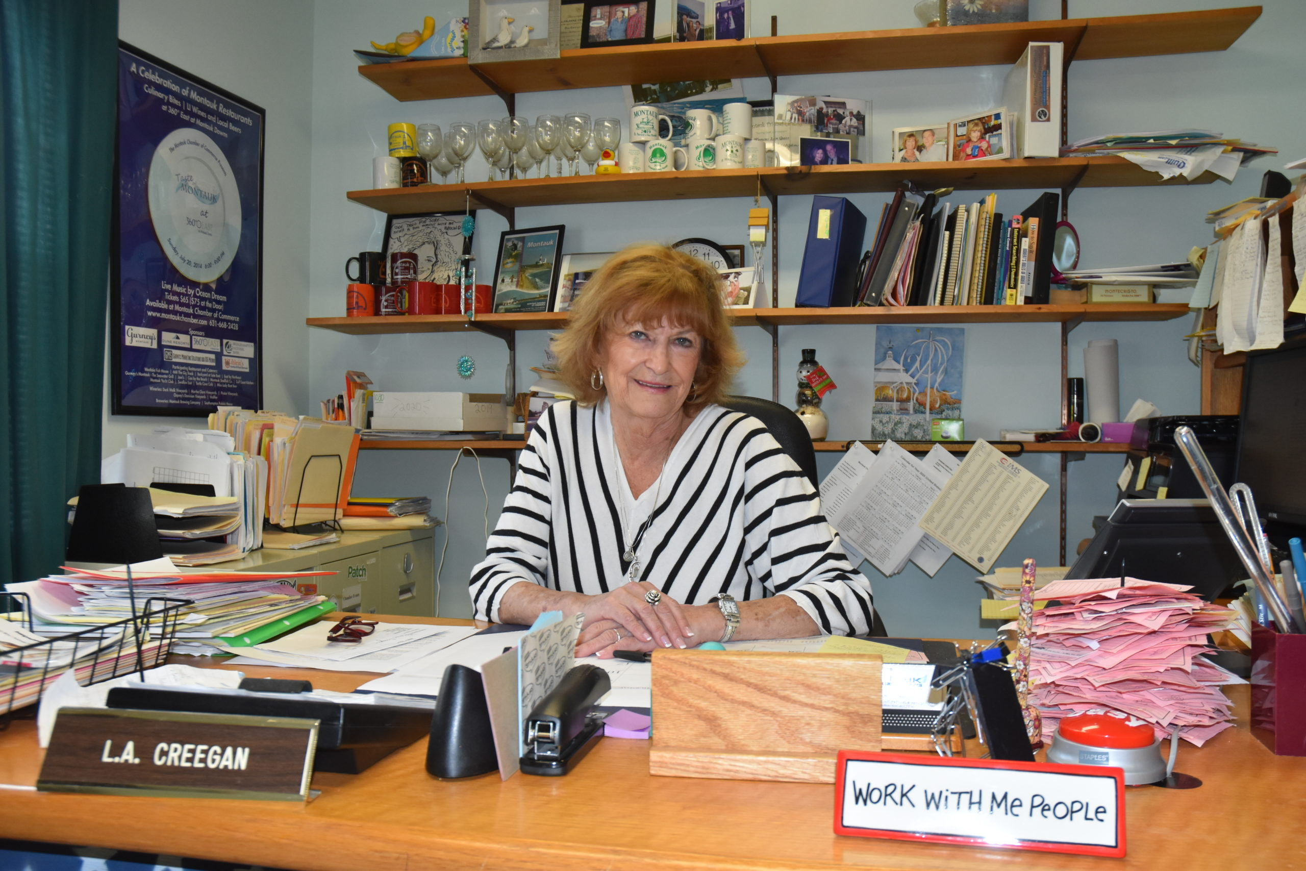 Montauk Chamber of Commerce Director Larraine Creegan will retire in April after 14 years at the helm of the organization. STEPHEN J. KOTZ