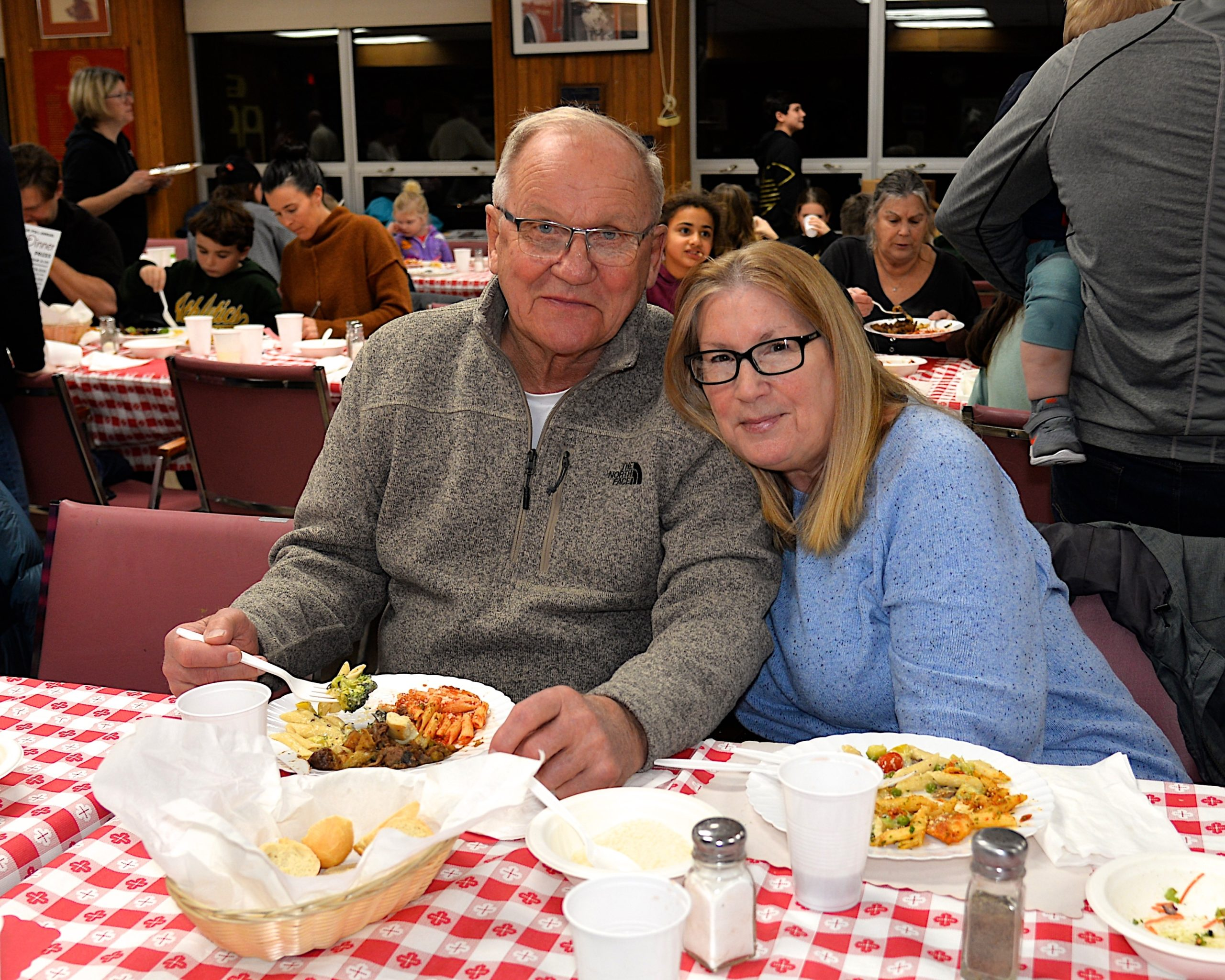 A pasta dinner fundraiser took place at the Montauk firehouse on Saturday to benefit the Robert R. Fisher scholarship fund. Dick Swanson and Nancy Stewart were there to support the cause. KYRIL BROMLEY
