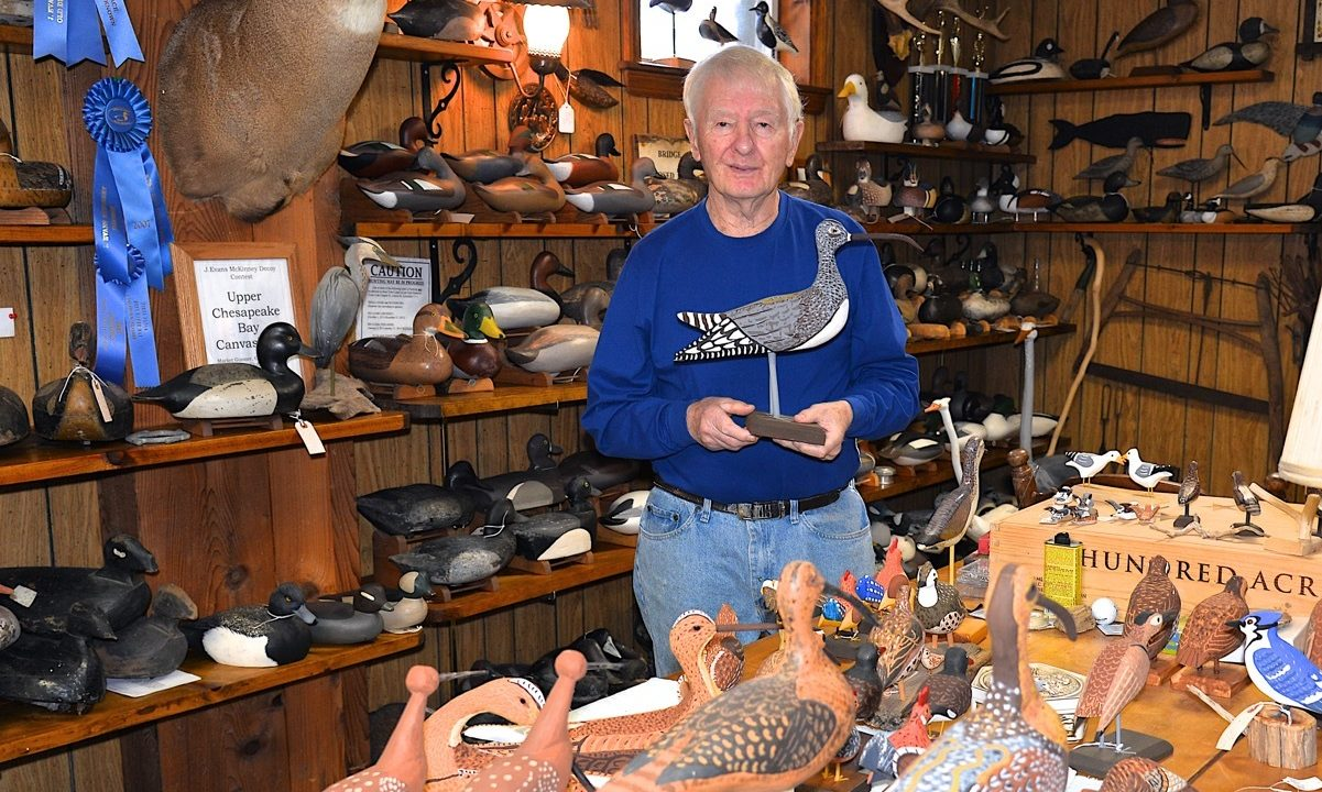 Some of Dave Bennett's hand-carved bird decoys.