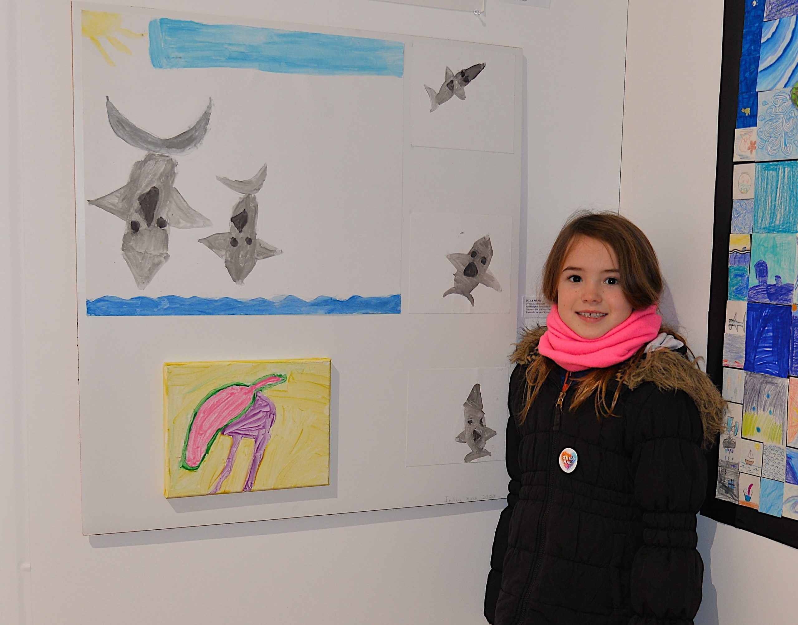 India Muhs, AN East Hampton home-schooled 2nd grader, with her work.    KYRIL BROMLEY