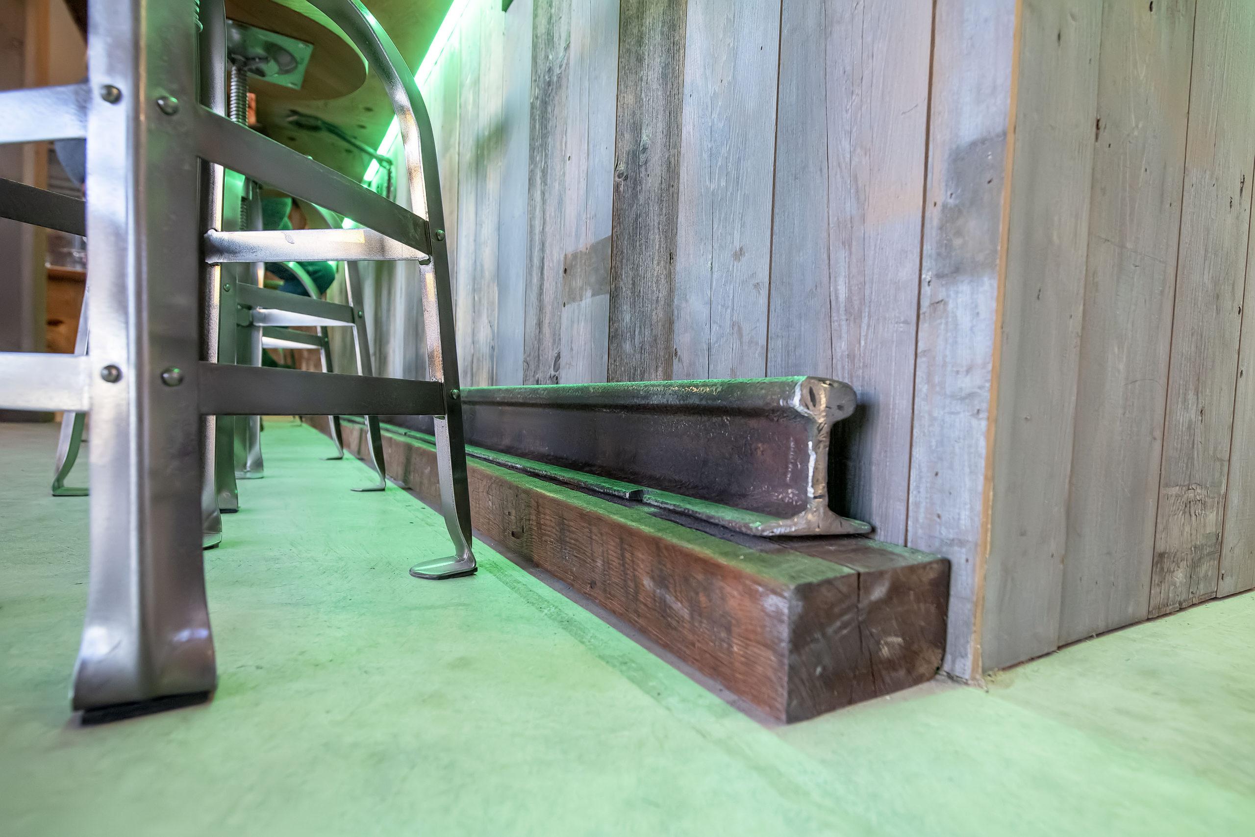 The bar rail was originally used on the track that ran between Sag Harbor and Bridgehampton. MICHAEL HELLER