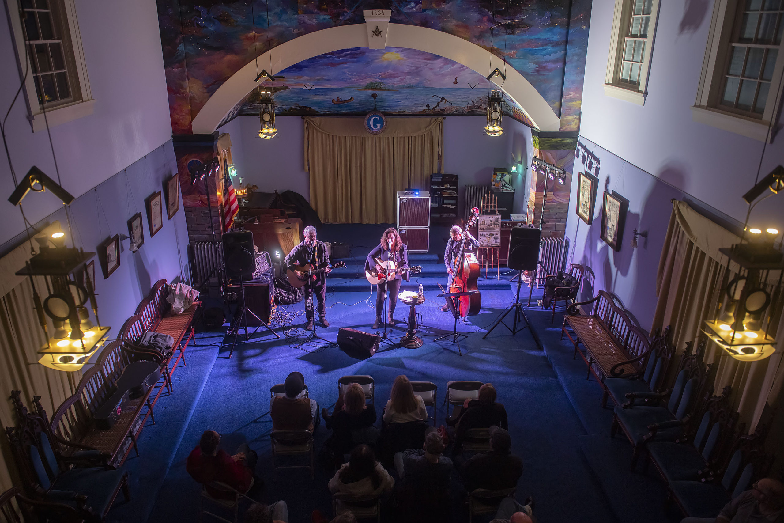 Caroline Doctorow and friends performed at the Masonic Temple located in Sag Harbor Whaling Museum on Saturday night.       MICHAEL HELLER