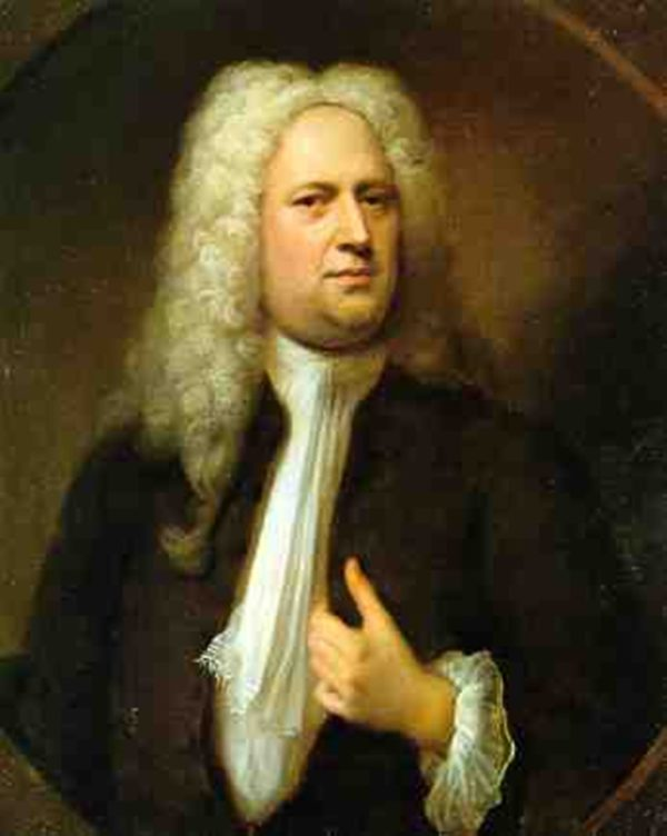 A painting of George Friederich Handel in 1727 by Balthasar Denner.