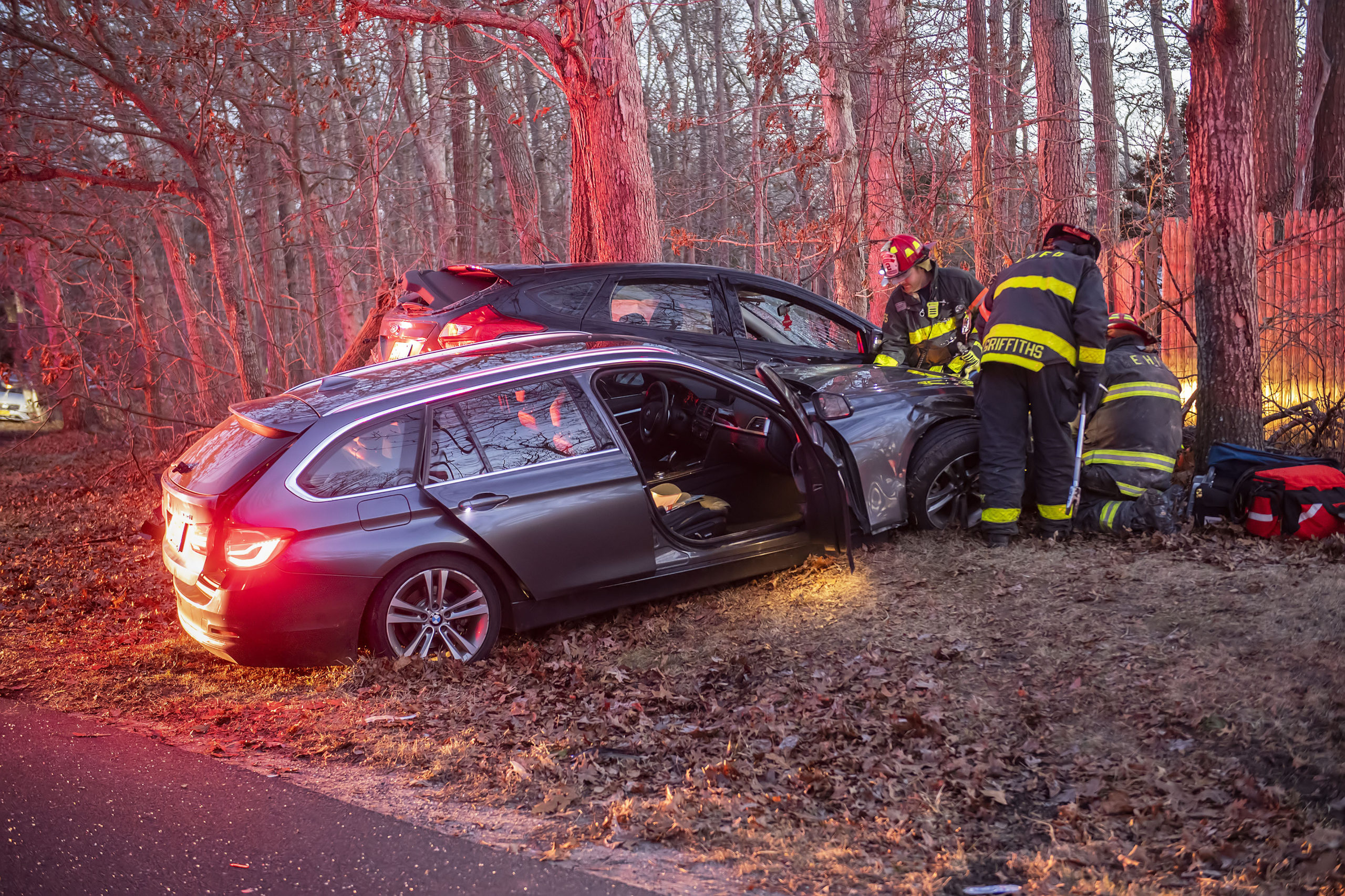 A three car crash closed Montauk Highway for more than two hours on Monday afternoon.
