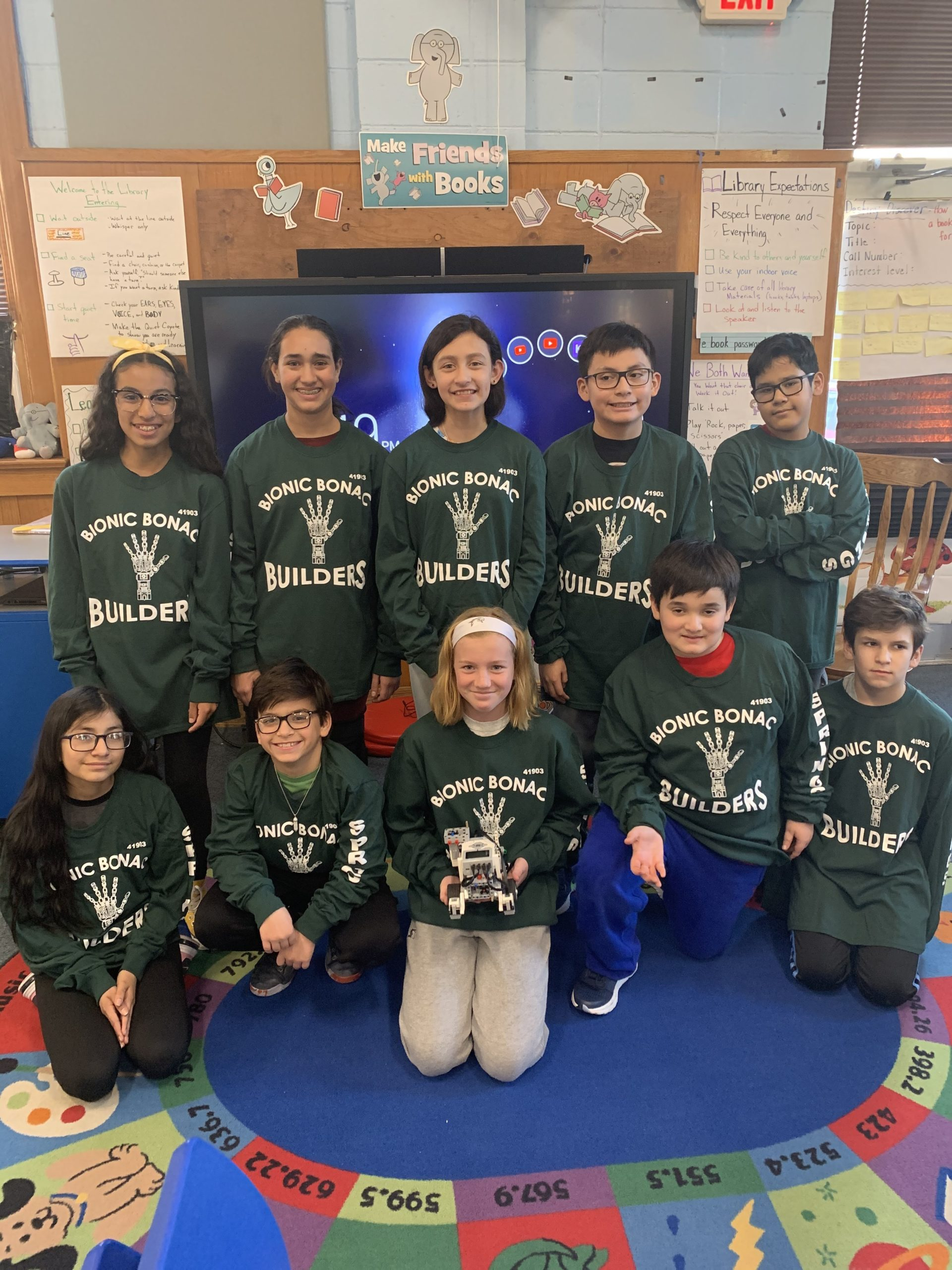 Springs School's Bionic Bonac Builders Lego Robotics team was one of three of the school's teams to face its first competition in Huntington last weekend.