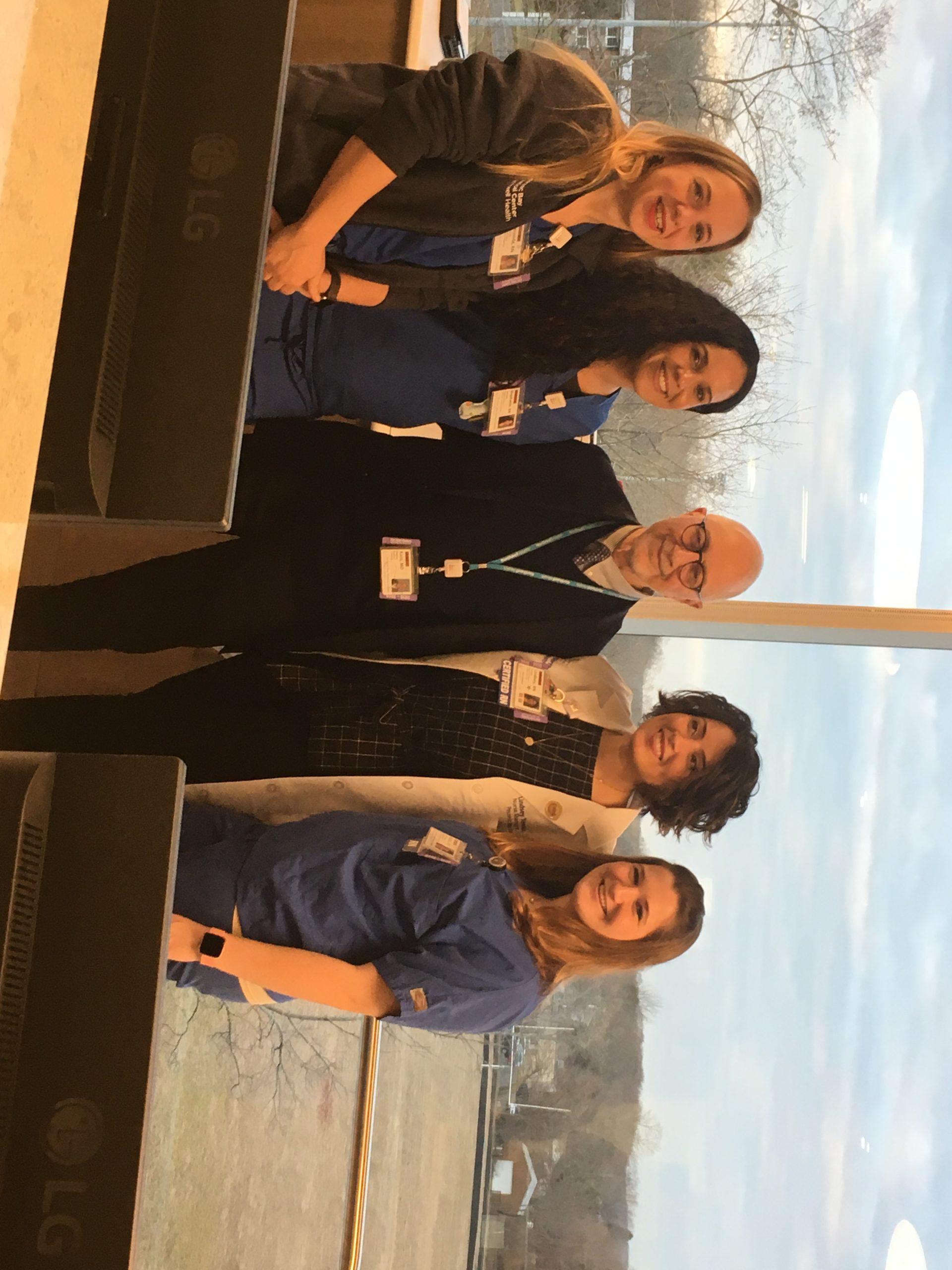 Dr. Stanley Katz, head of cardiology, with the RN team in the new heart center. Amanda DeArmitt, Stephia salcedo, Jessica McGuinness, and Lindsey Tereso. KITTYMERRILL