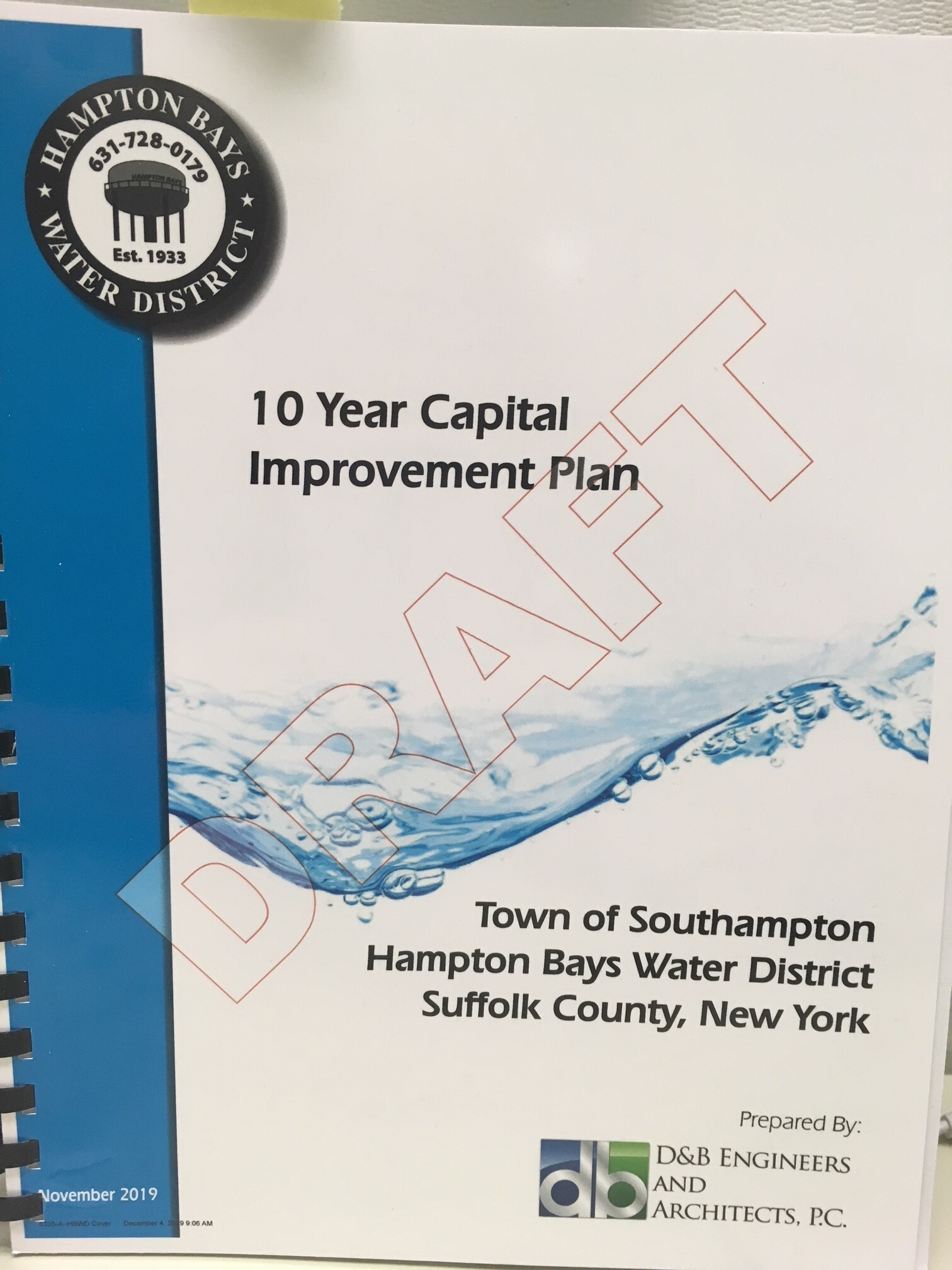 The plan looks at usage and improvements in the Hampton Bays Water District. KITTY MERRILL