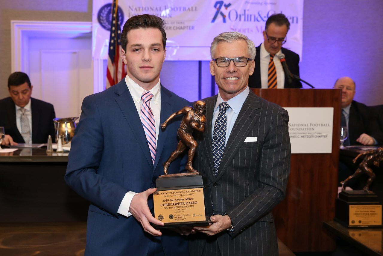 Chris Daleo, left, with James Metzger, whom the top scholar athlete award is now named after.