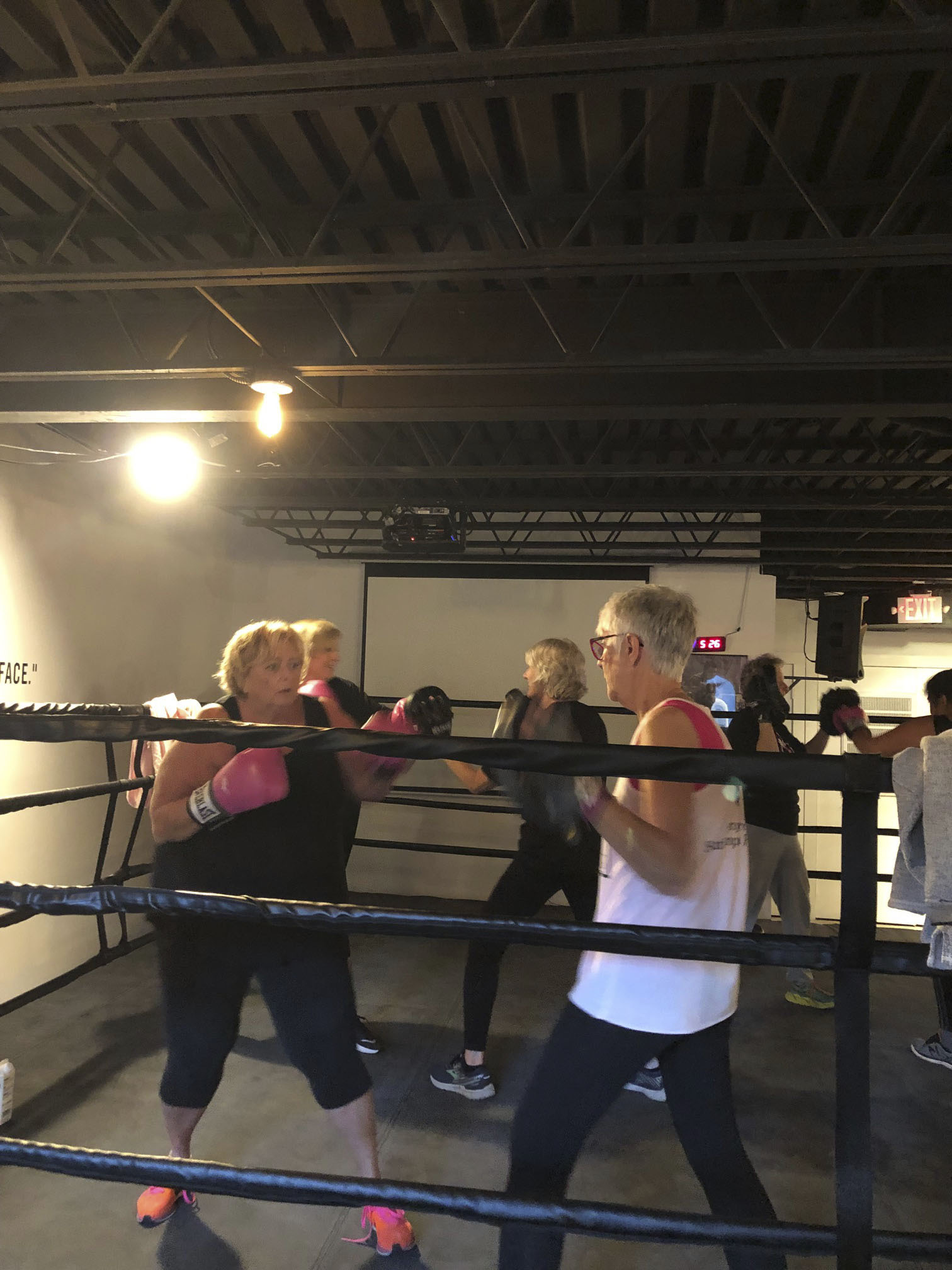 Fight Mode founder Susie Roden, left, in the ring.  CALIN RILEY
