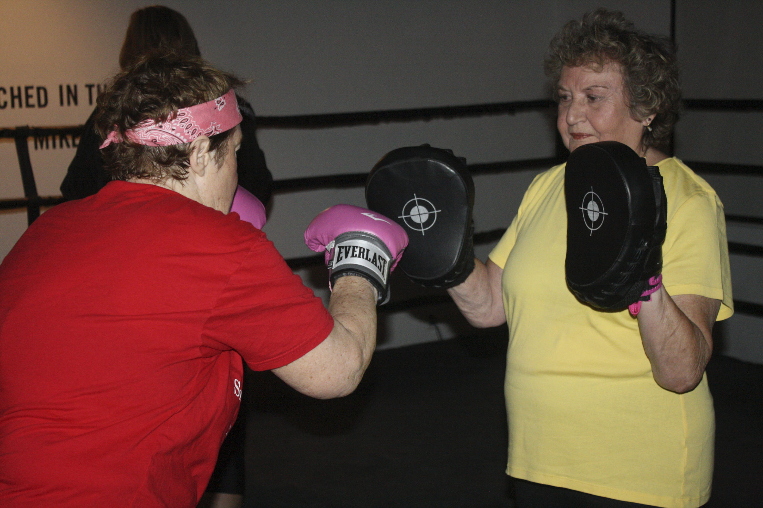 Virginia Styler spars with Ida Annunziata in the gym.   CAILIN RILEY