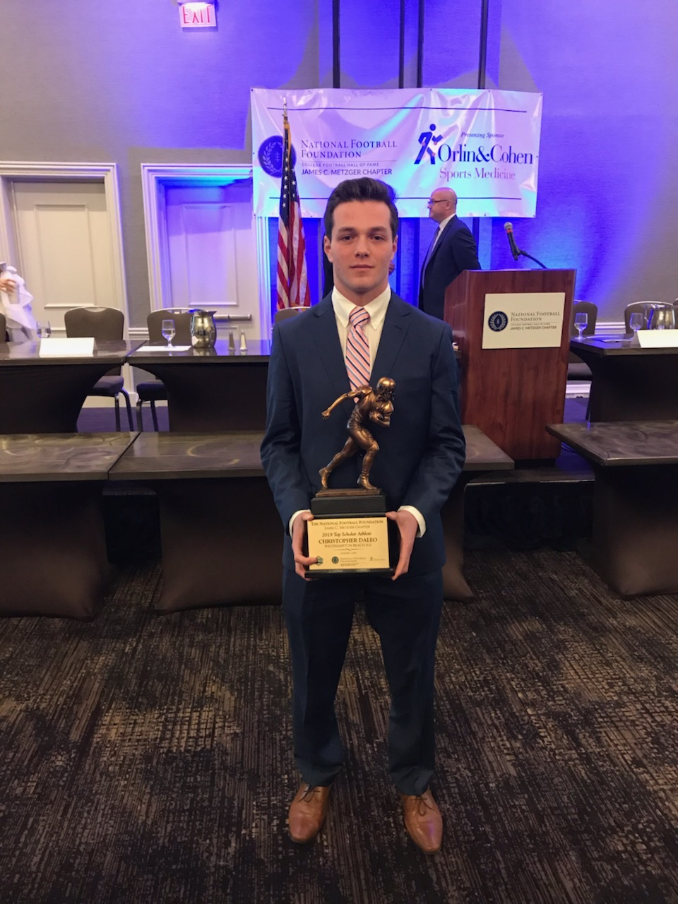Chris Daleo of Westhampton Beach was given the James C. Metzger Award as the top academic football player in Suffolk County.