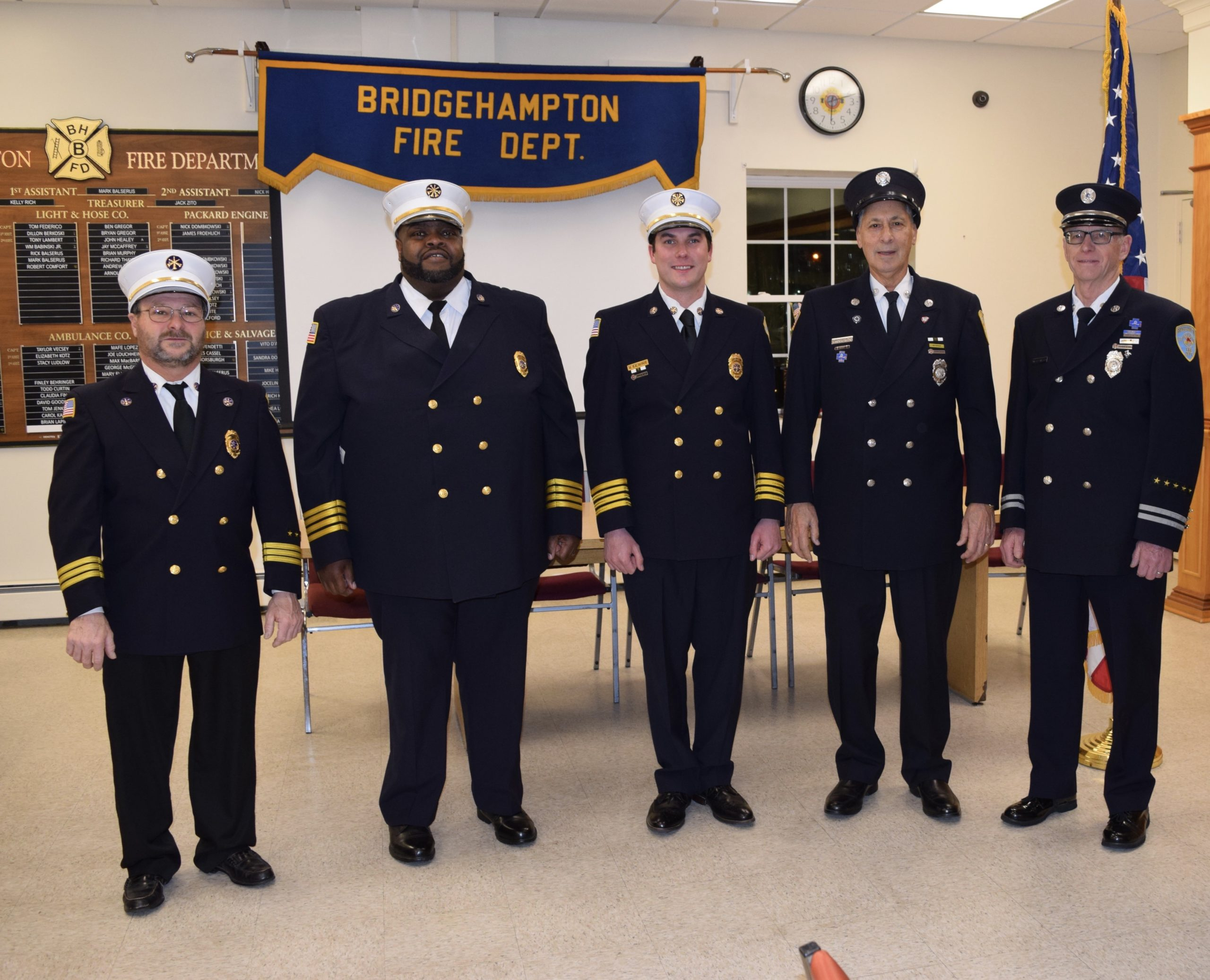 The 2020 officers for the Bridgehampton Fire Department were sworn in on January 8. From left, 2nd Assistant Chief Tom Federico, 1st Assistant Chief Nick Hemby, Chief Mark Balserus, treasurer Jack Zito, and deputy treasurer Harry Halsey. Richard Kelly, not in photo, was sworn in as secretary.