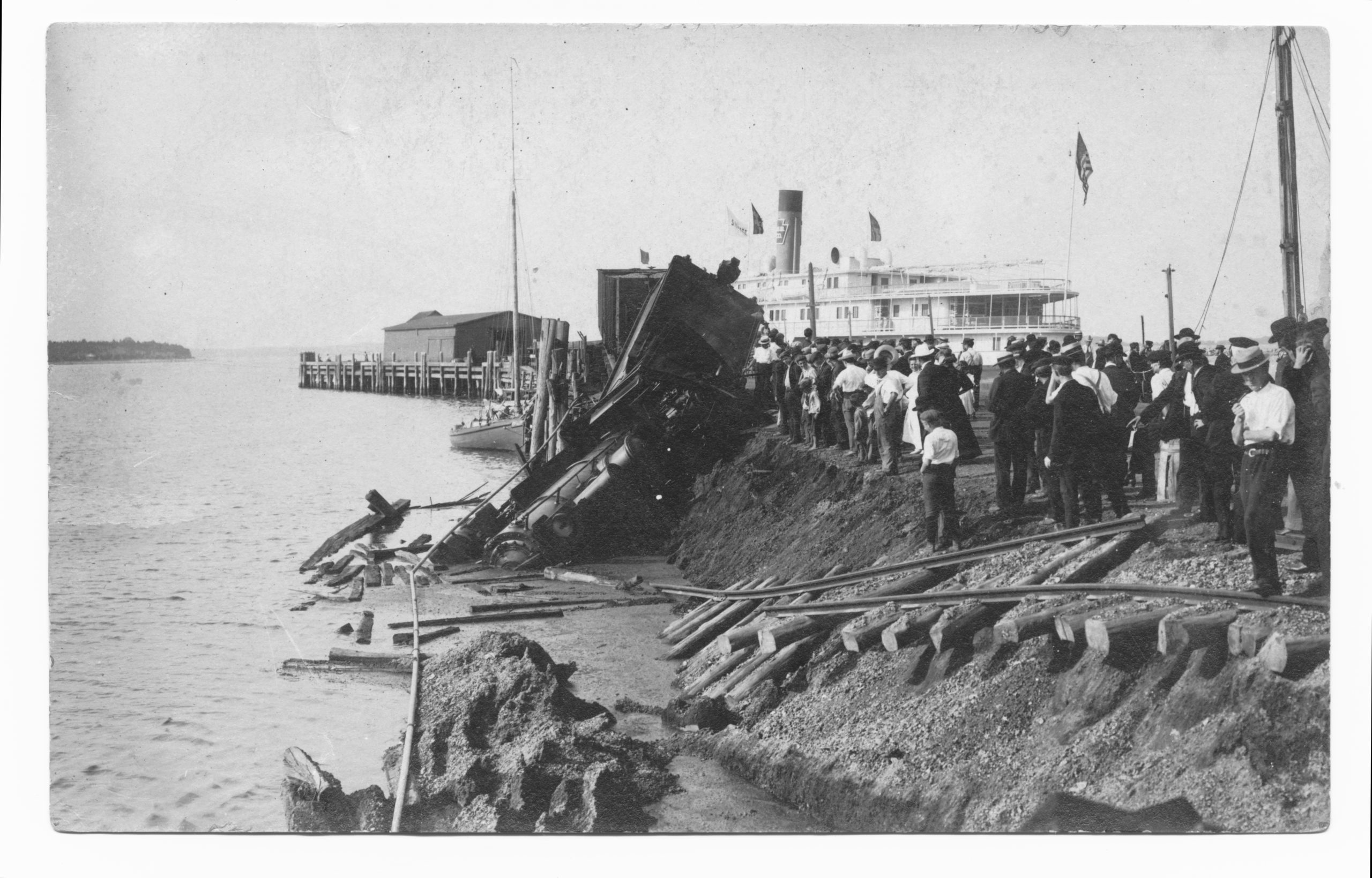 This Long Island Rail Road locomotive ended up in the harbor when a portion of Long Wharf collapsed in 1908. Gift of Steve Peters to Sag Harbor Historical Society.