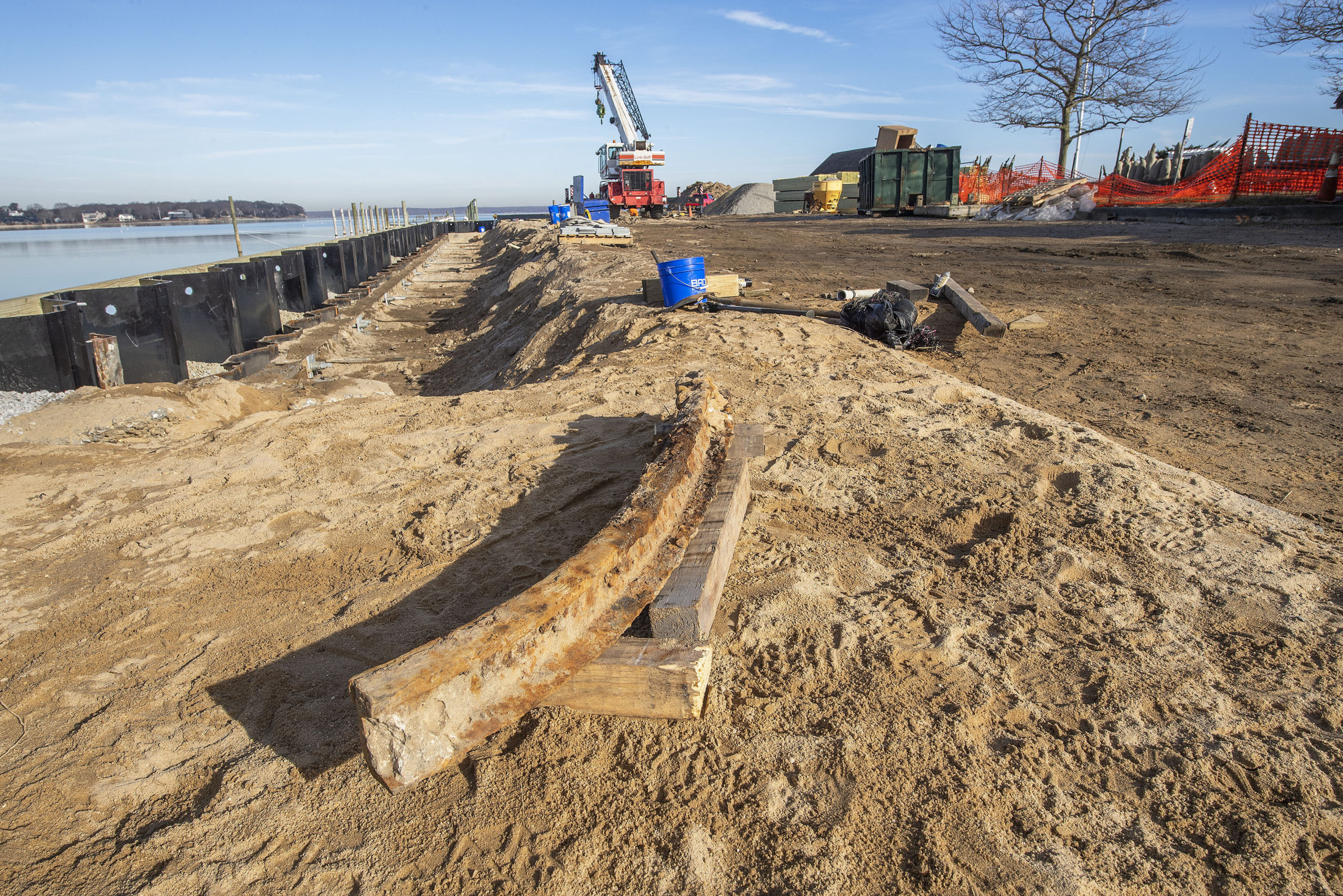 While excavating old material as process of renovating Long Wharf this past week, a crew from job contractors Chesterfield & Associates, Inc. unearthed a 58