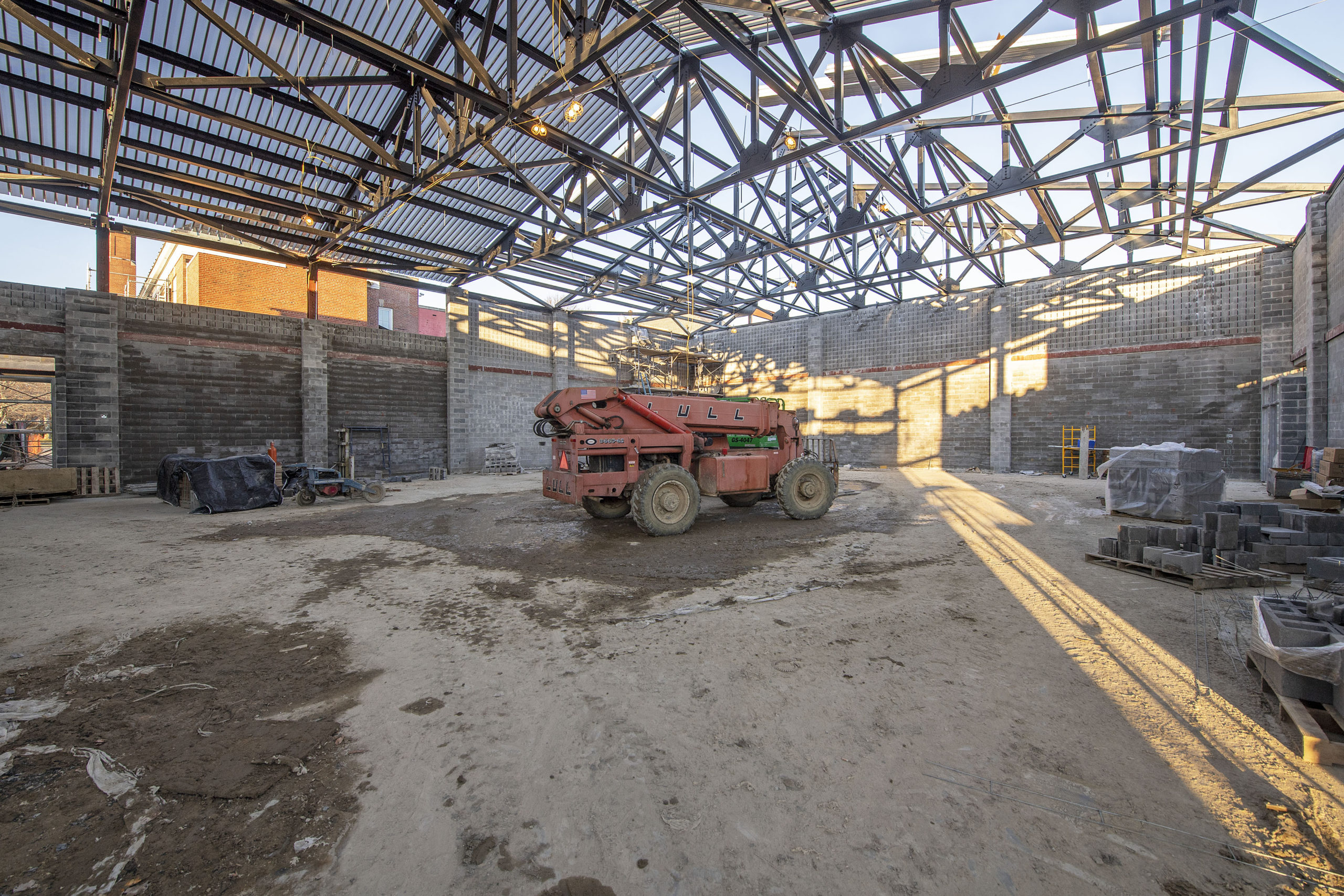 A view of the interior of what will be the new Bridgehampton School gymnasium.