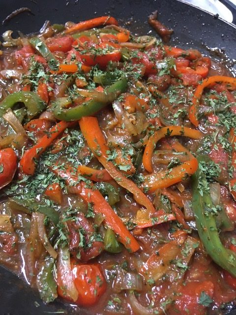 Sauteed peppers and tomatoes.