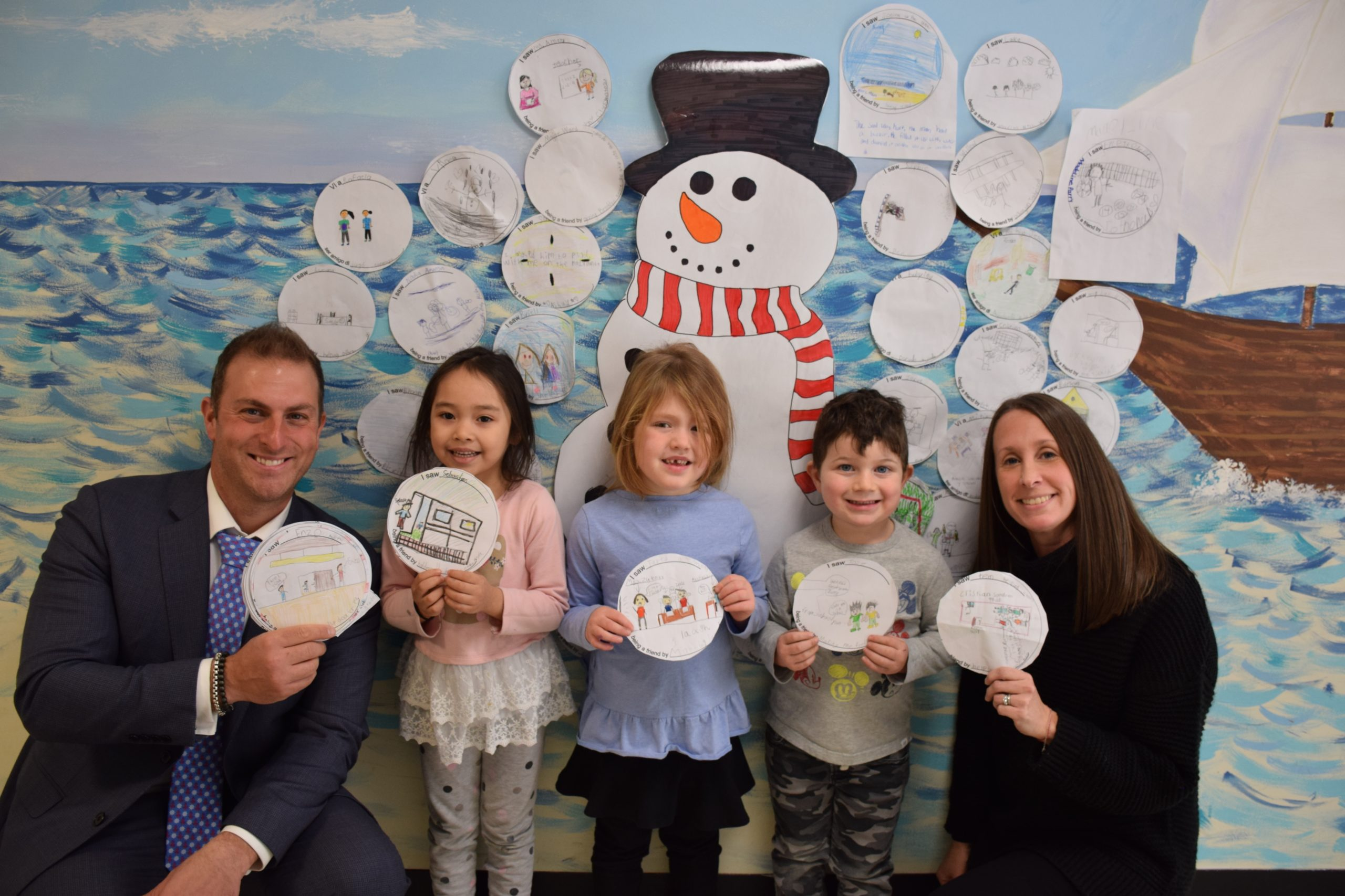 Southampton Elementary School students posed with Sammy the Snowman, the centerpiece of a friendship initiative at the school. From left,Assistant Principal Jeremy Garritano, kindergartners Katherine Choy, Eleanor McGowin and Jack Brody, and teacher Sara Drohan.