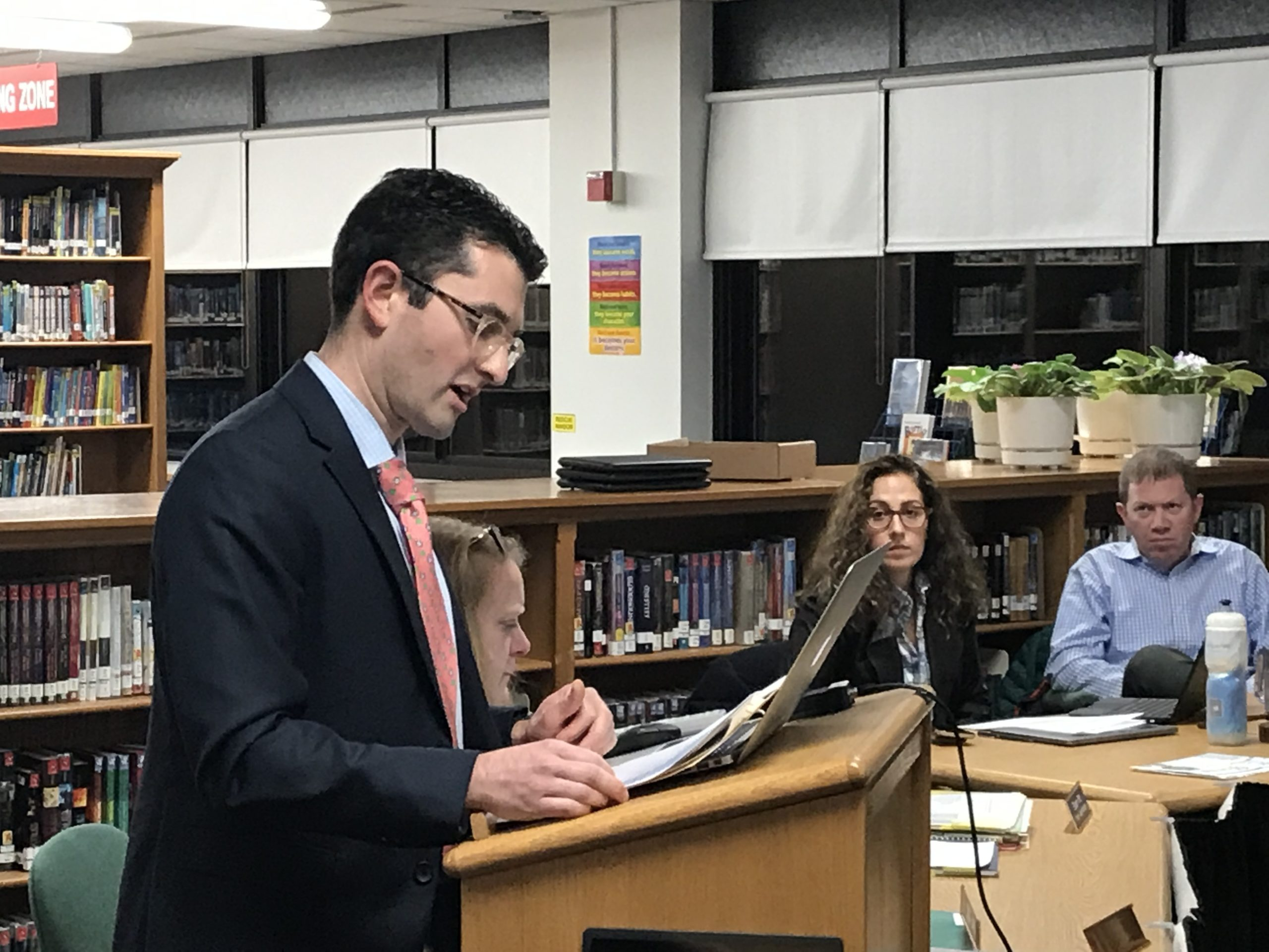 Dr. Steven Sobey speaks at Monday night's Sag Harbor School Board of Education meeting.