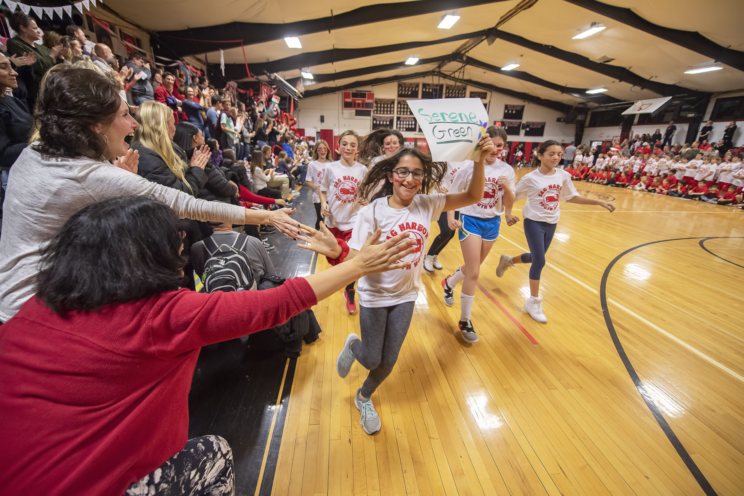 The Grand Parade of Sag Harbor Youth Hoops participants was held during the halftime of the Lady Whalers' game as part of the 2020 Spirit Night festivities at Pierson High School on Friday night.