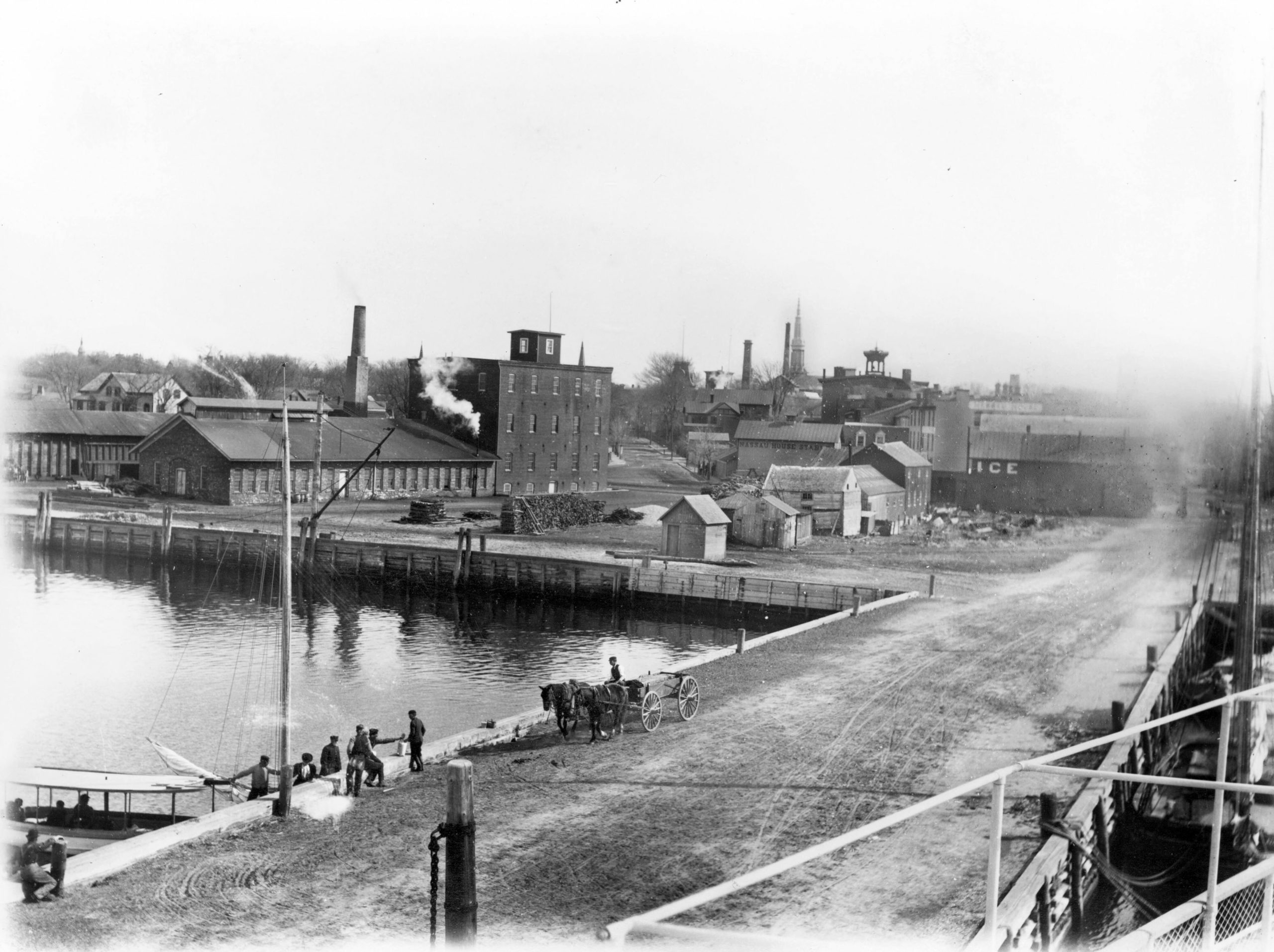 Photo of Long Wharf by William Wallace Tooker. Courtesy of the Kevin J. McCann Collection