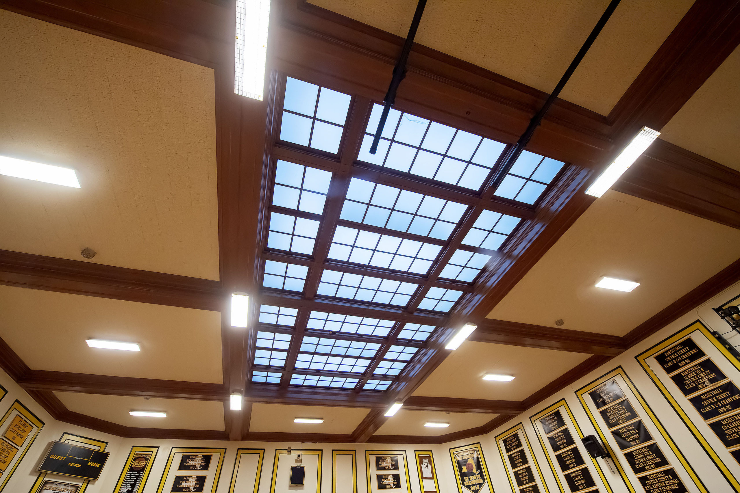 The skylight above The Hive court.