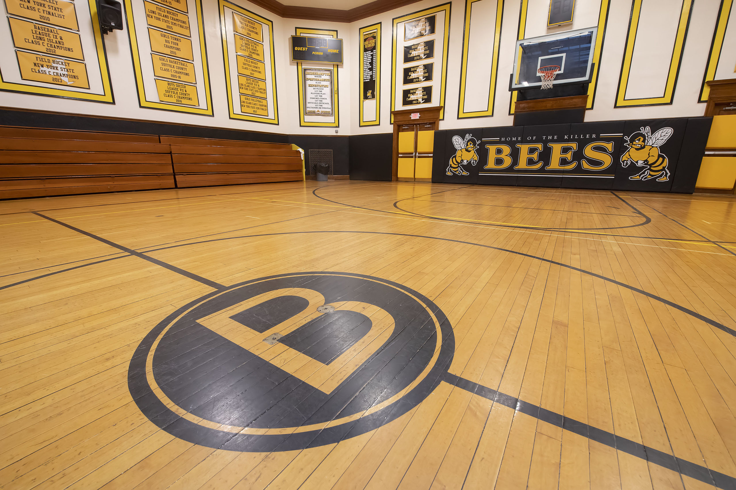 The Hive measures 37 feet sideline to sideline and 55 feet baseline to baseline, 13 feet and 19 feet smaller, respectively, than a regulation-sized high school basketball court.