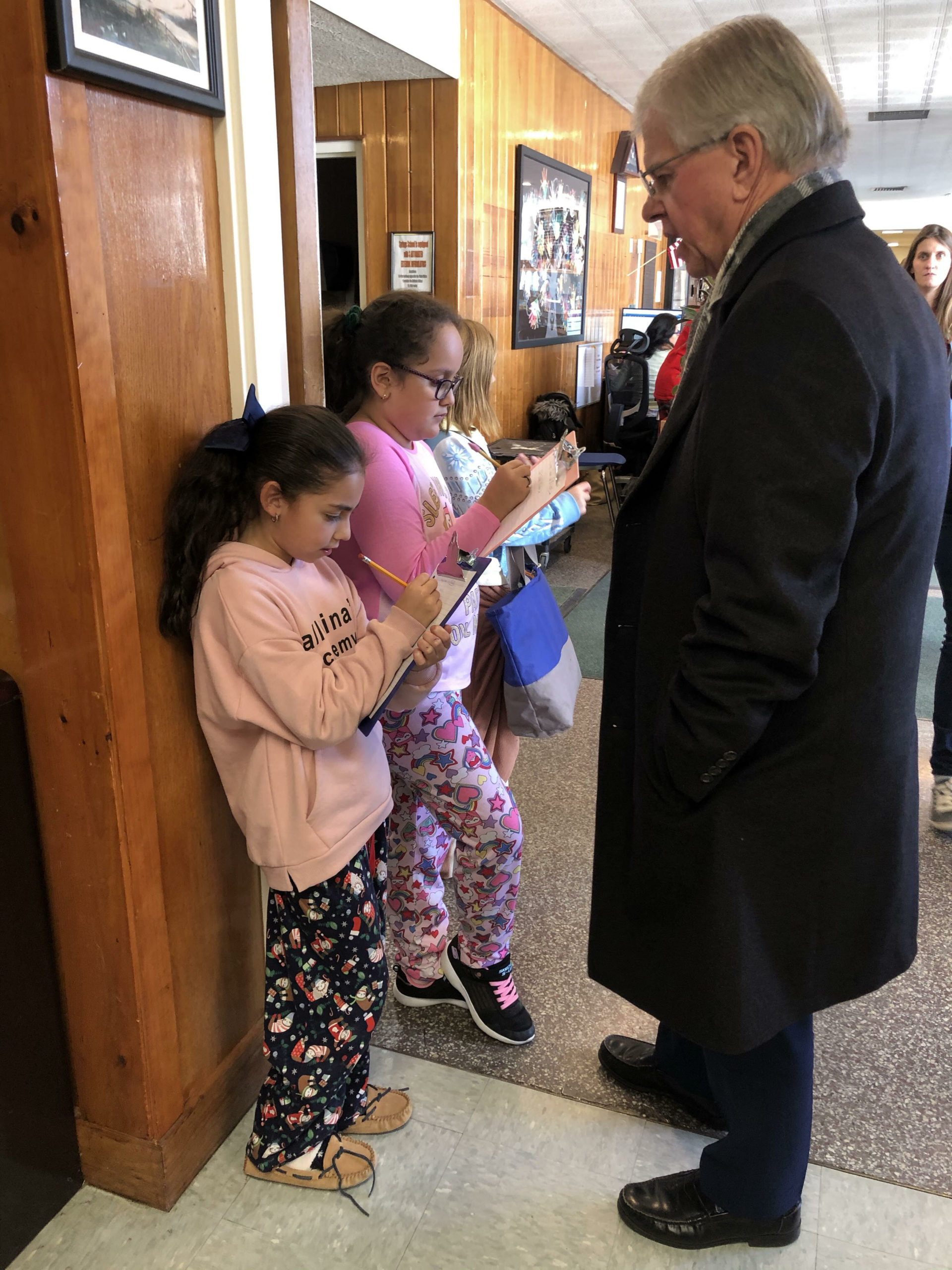 Springs School Journalism Club students interviewed Assemblyman Fred Thiele about a $50,000 grant the school recently received for its clean water initiatives.